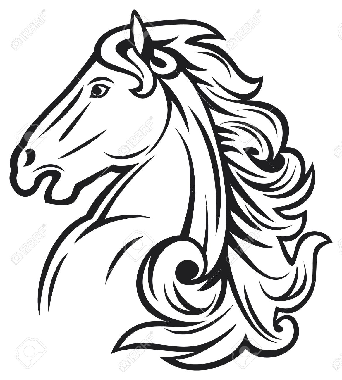 Horse Head Mustang Beautiful Stock Vector