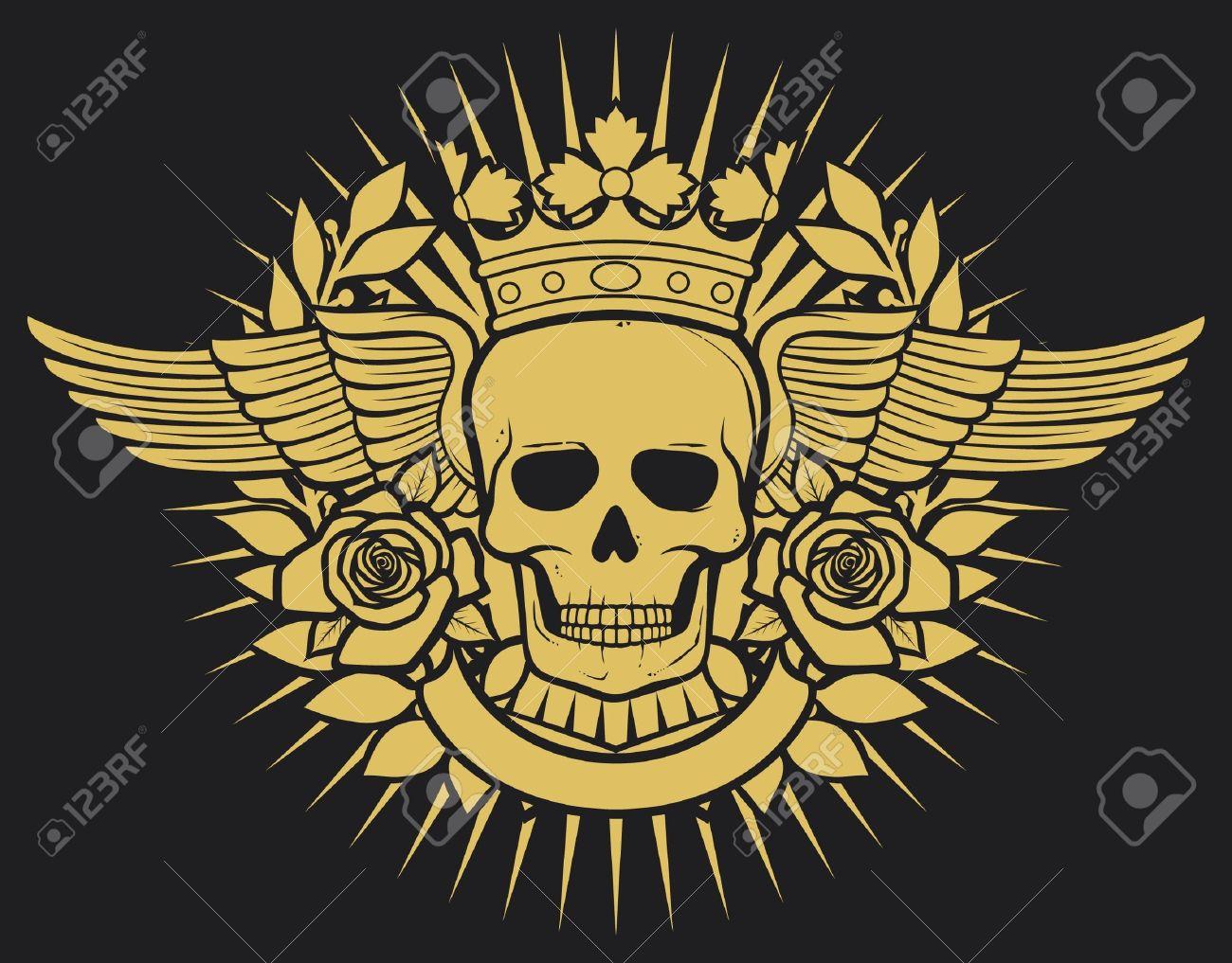 Skull Symbol Skull Tattoo Design Crown Laurel Wreath Wings