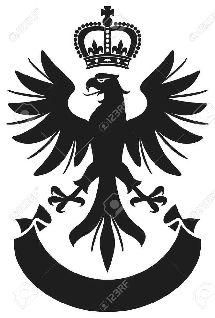 eagle coat of arms design  eagle, crown and banner Stock Vector - 16081598