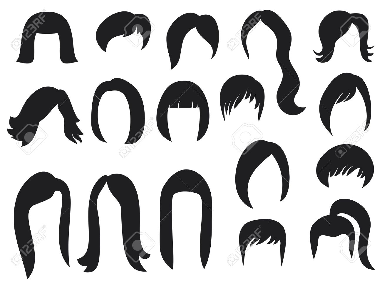 Big Set Of Black Hair Styling For Woman Big Set Of Hair Styling ...