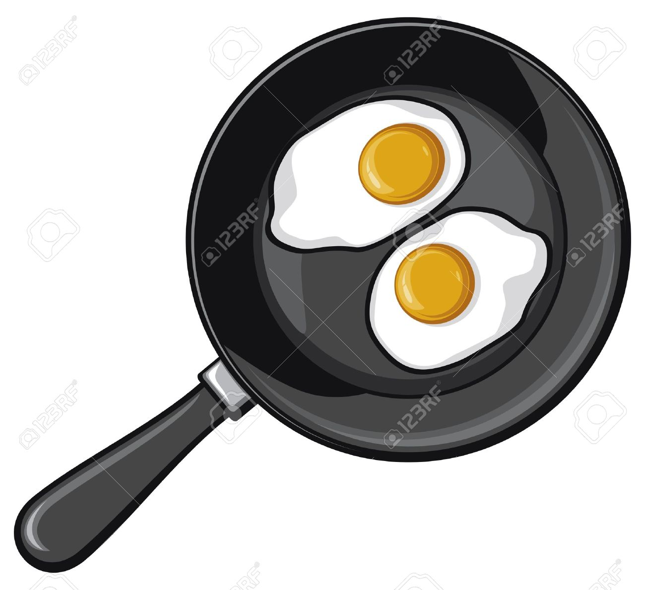 Fried Eggs On Frying Pan Egg Stock Vector