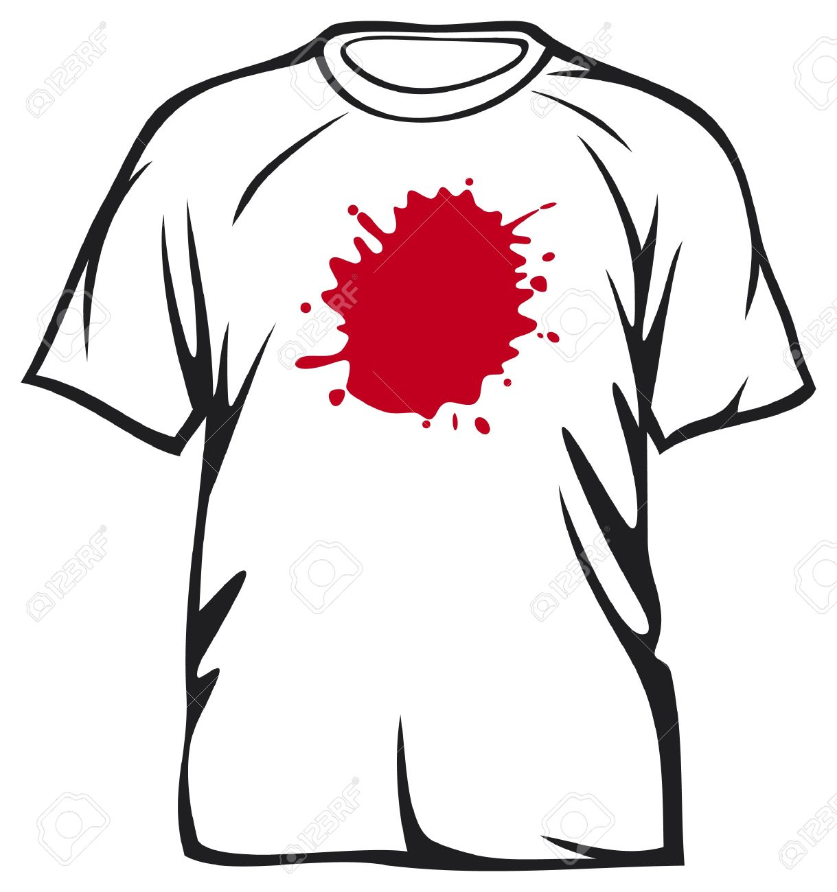 red stains on white t-shirt  dirty t-shirt Stock Vector - 17470039
