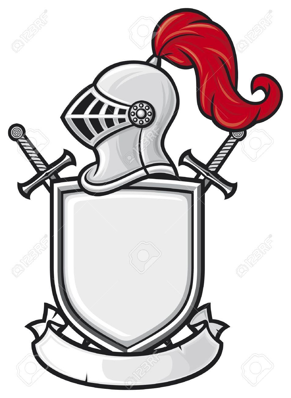 medieval knight helmet shield crossed swords and banner coat rh 123rf com