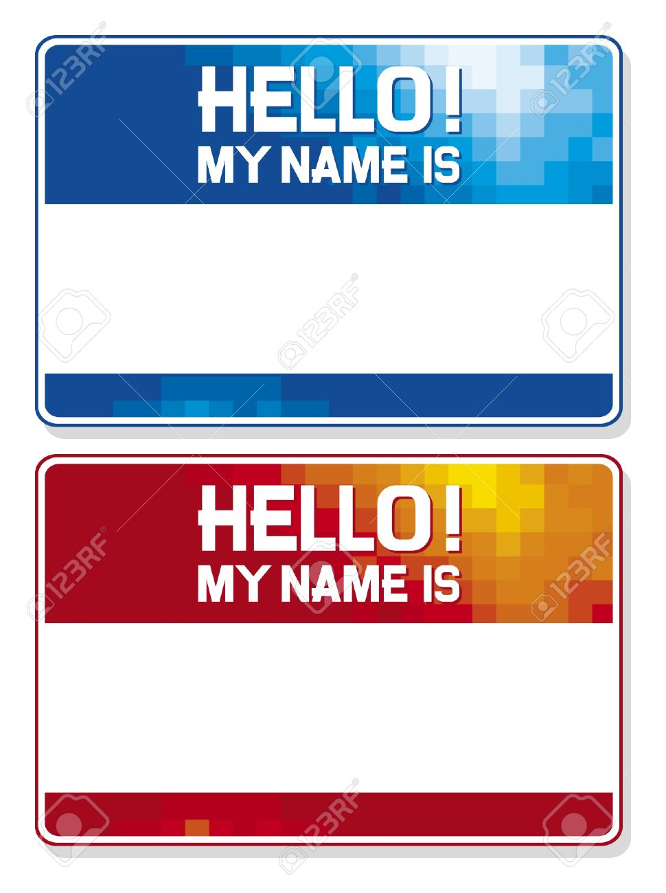 hello my name is card blue and red name tag blank sticker hello