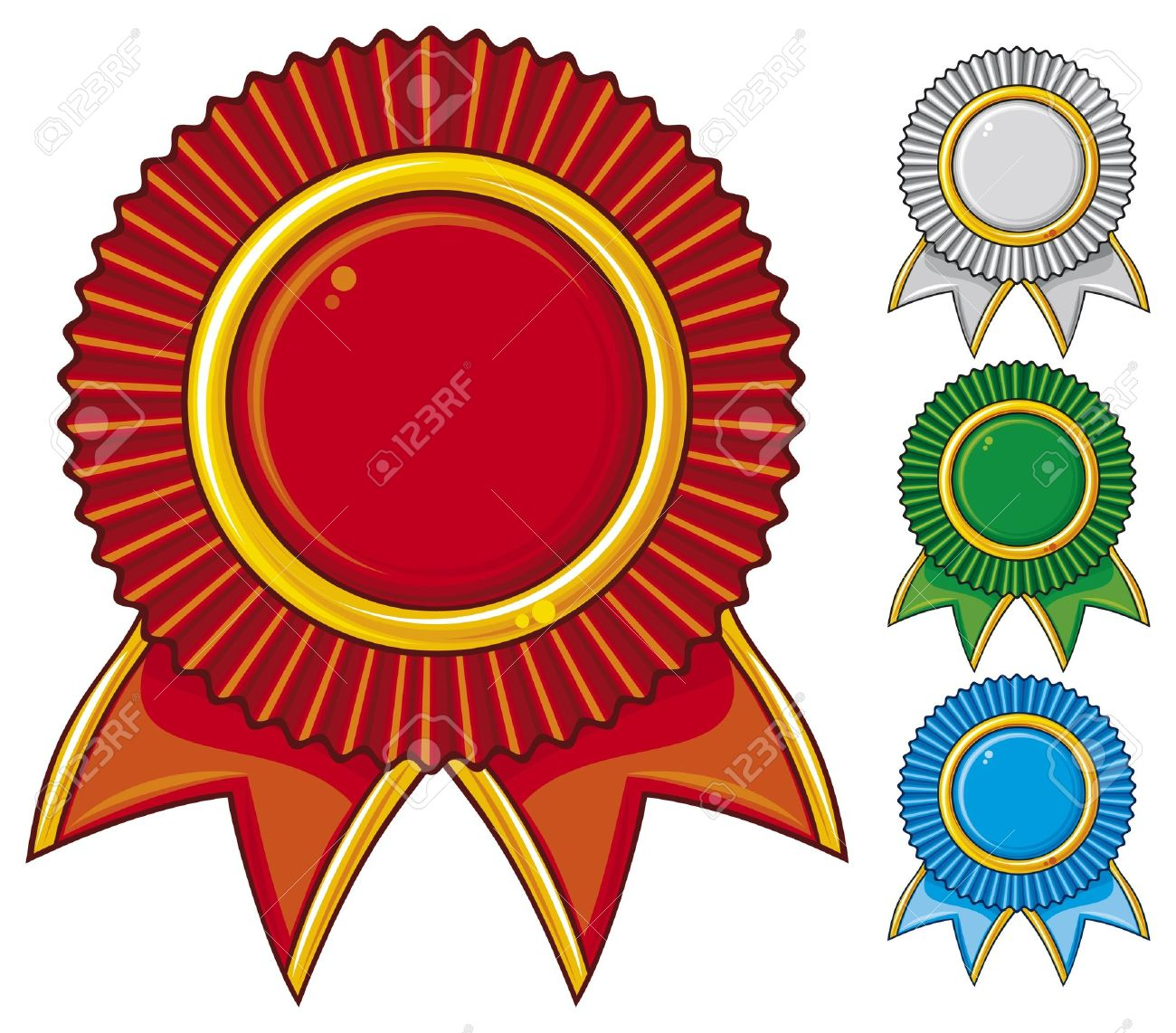 a collection of awards icon colored blue, red, gray and green  set of four rosettes, award ribbon rosette, award ribbon Stock Vector - 17920918