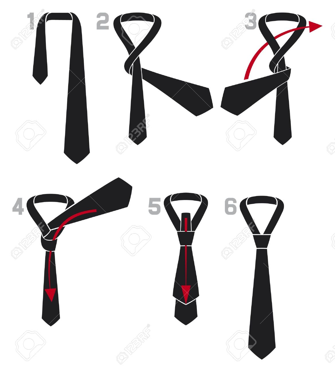 tie and knot instructions  the four in hand knot, Instructions how to tie a simple four in hand tie knot, four-in-hand knot, tie knot Stock Vector - 18076566