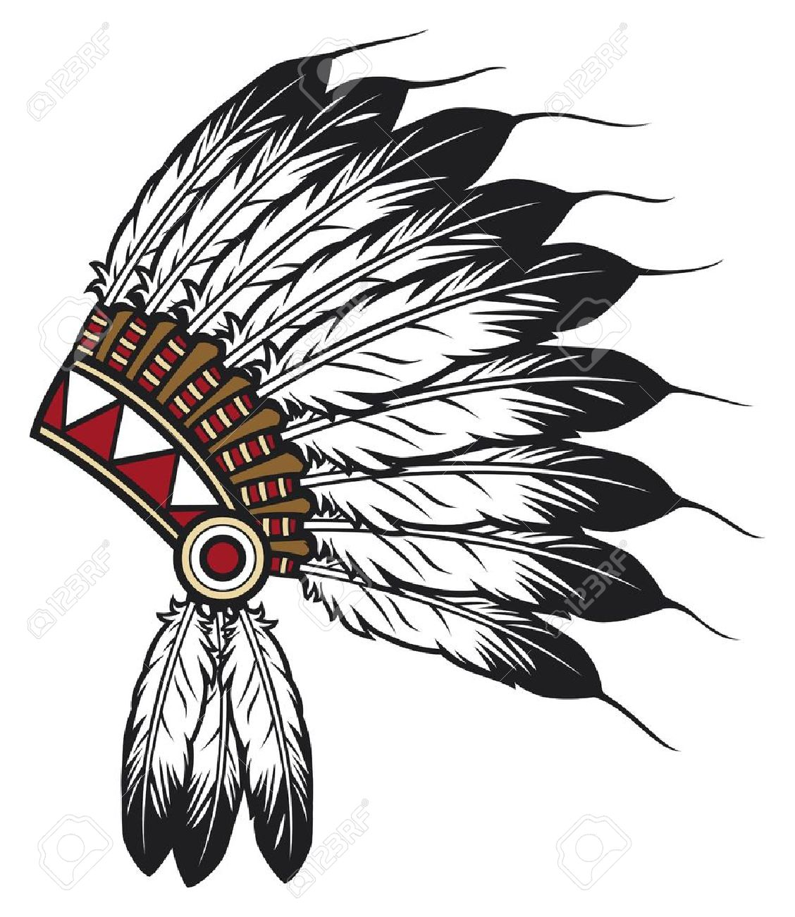 Native American Indian Chief Headdress Indian Chief Mascot Indian Tribal Headdress Indian Headdress