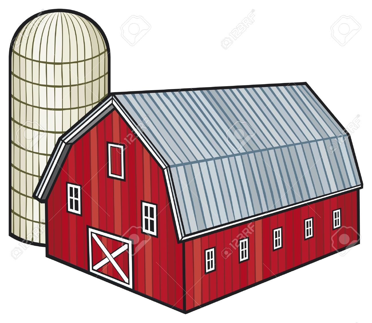 Cartoon red barn doors - Red Barn Red Barn And Silo Barn And Granary Illustration