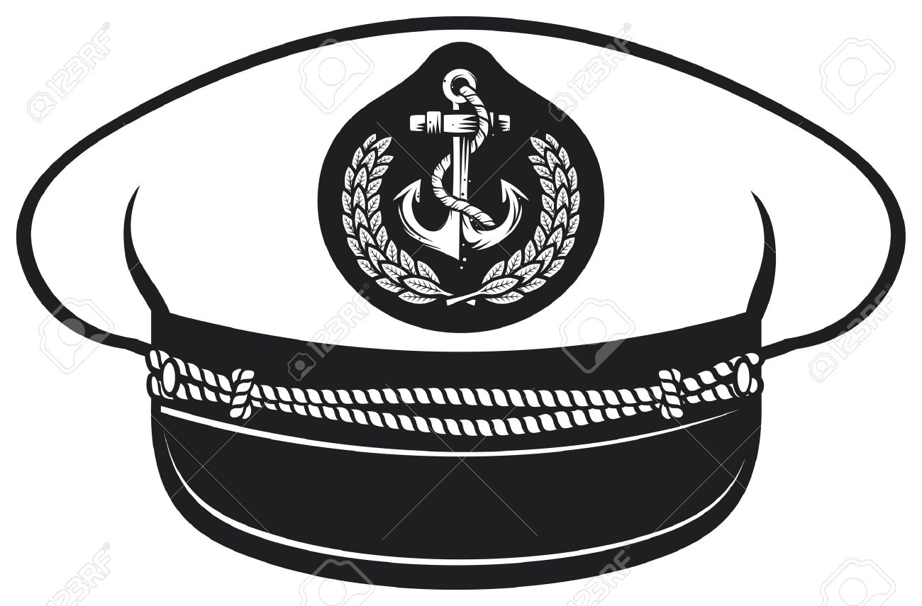 Nautical Clipart Black And White Vector - captain hat nautical