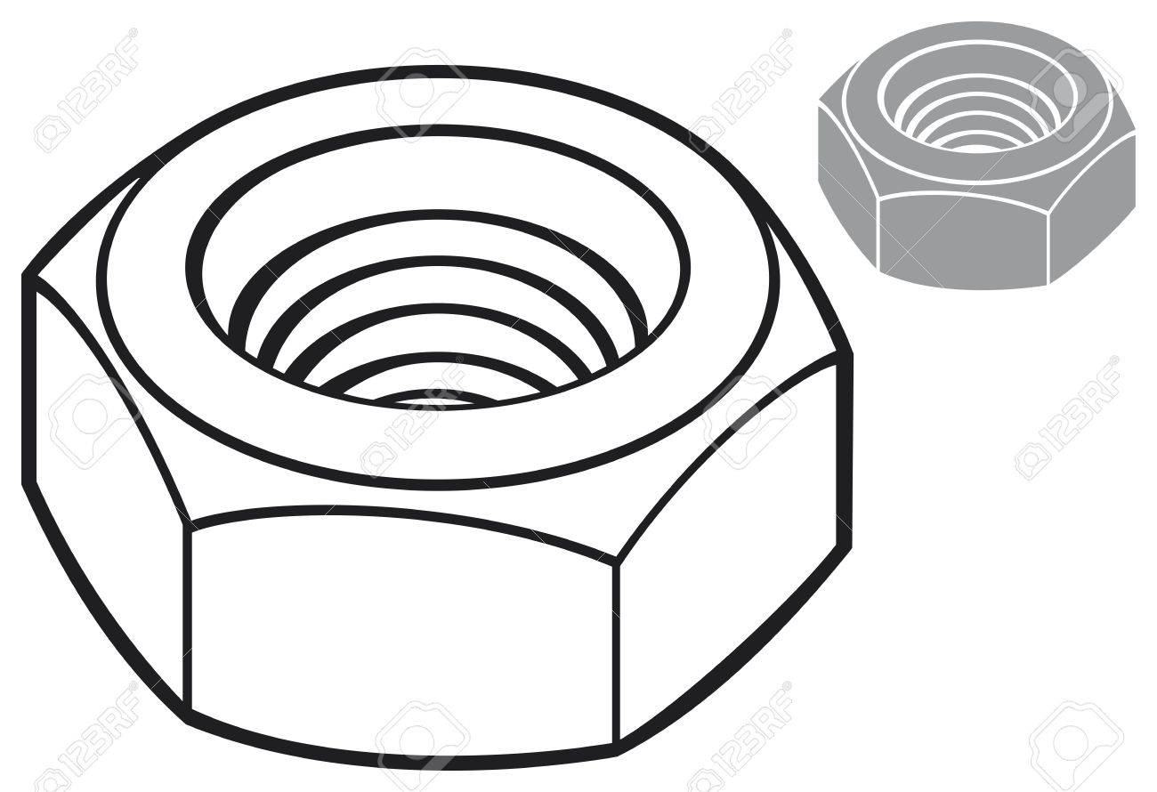nut clipart black and white. nut metal nut, screw mechanical stock vector - 18660605 clipart black and white