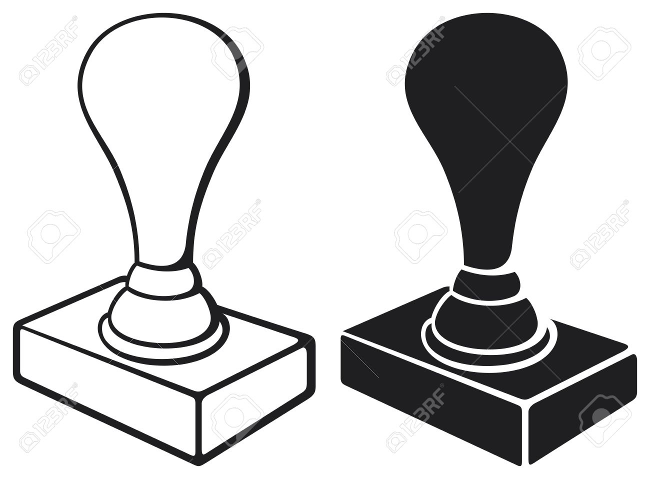 Black Stamp Isolated On White Background Rubber Stamp Office