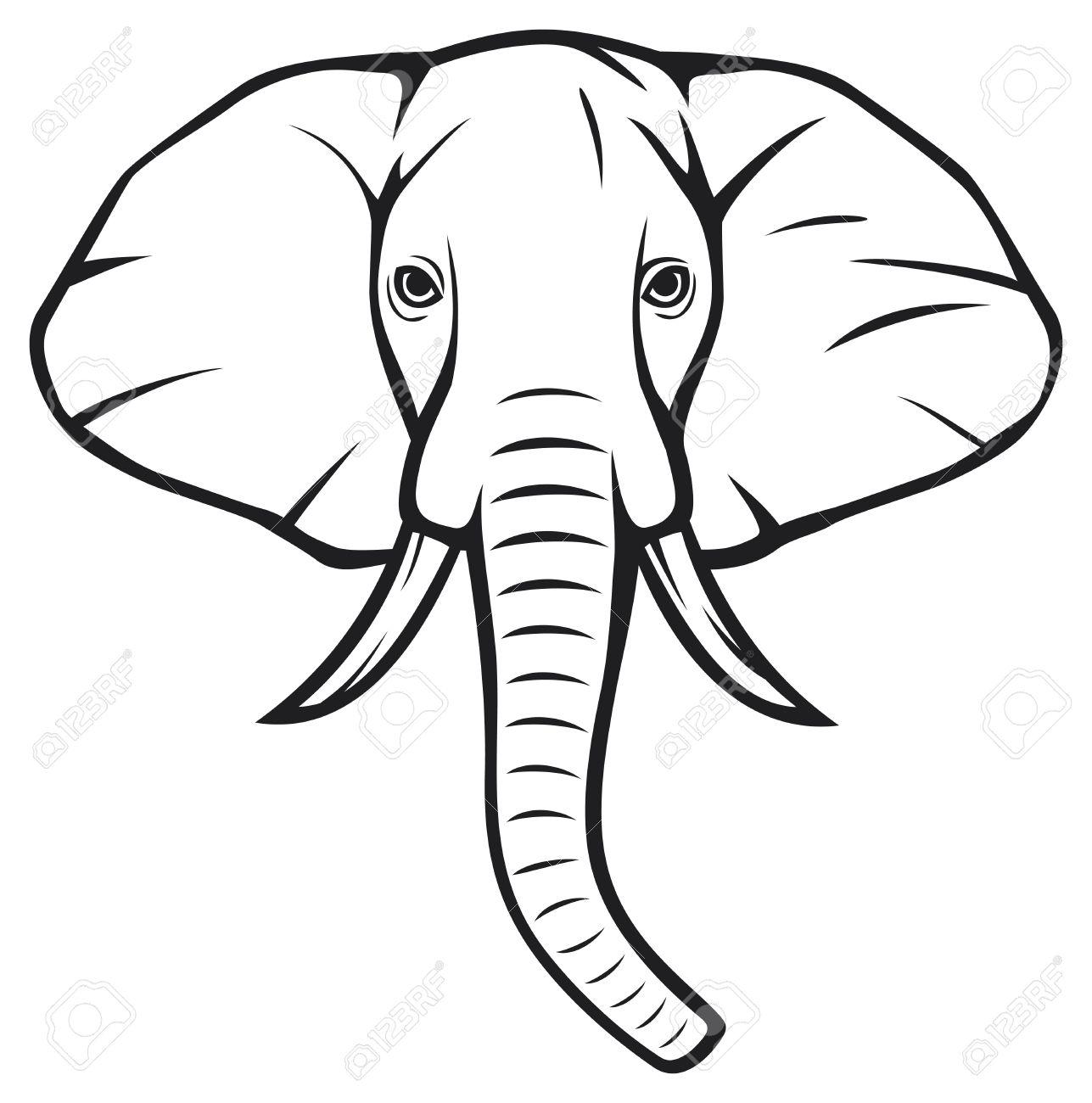Голова слона на рисунок