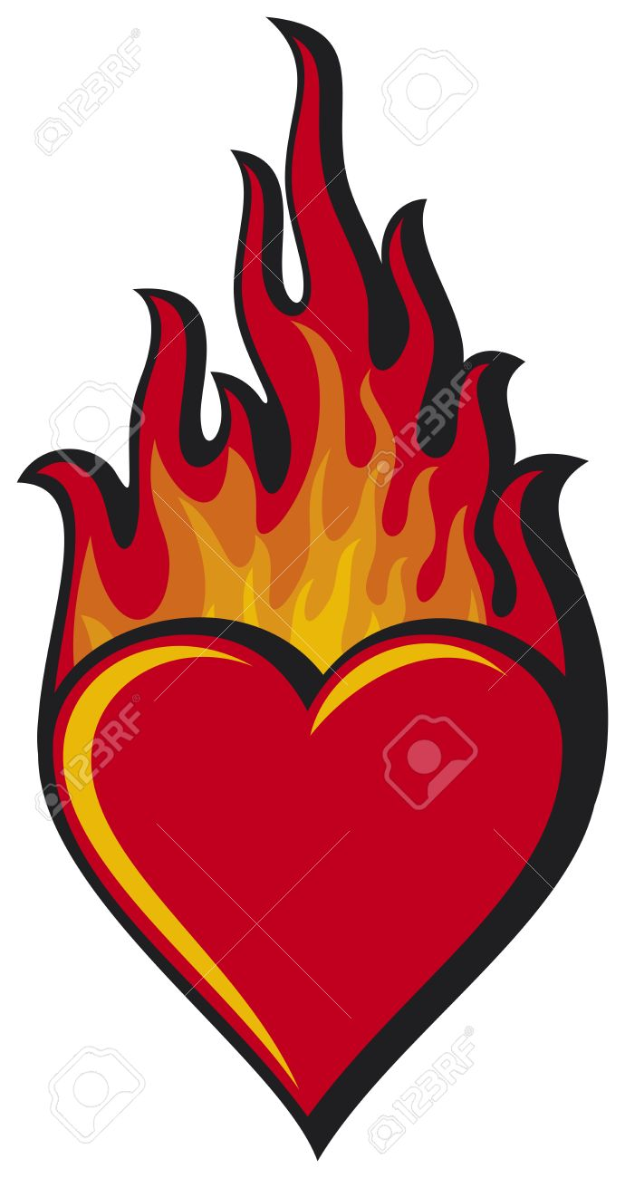 6e01720c889b flaming heart heart in flame Stock Vector - 19189232