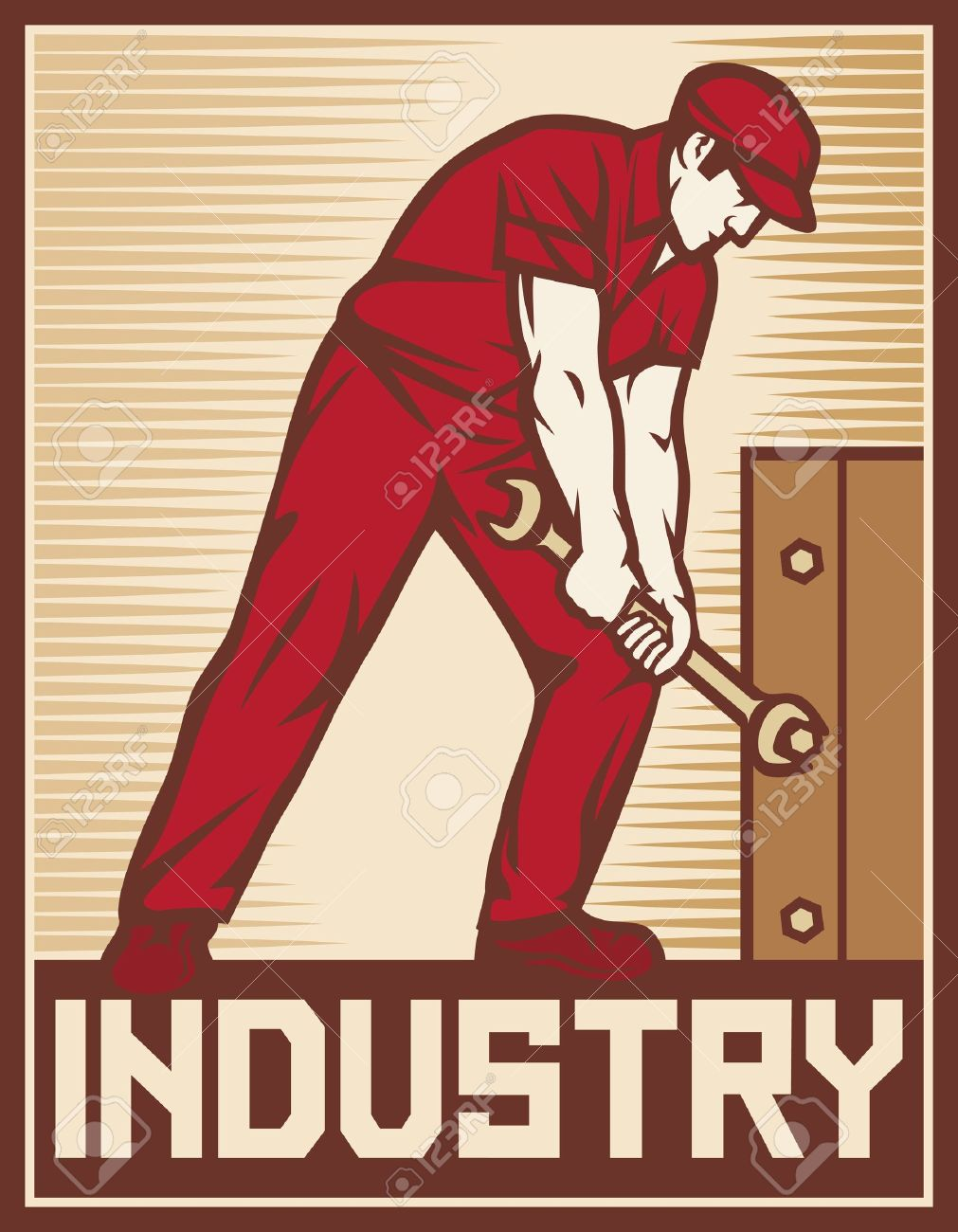 Worker Holding Wrench - Industry Poster Industry Design, Worker ...