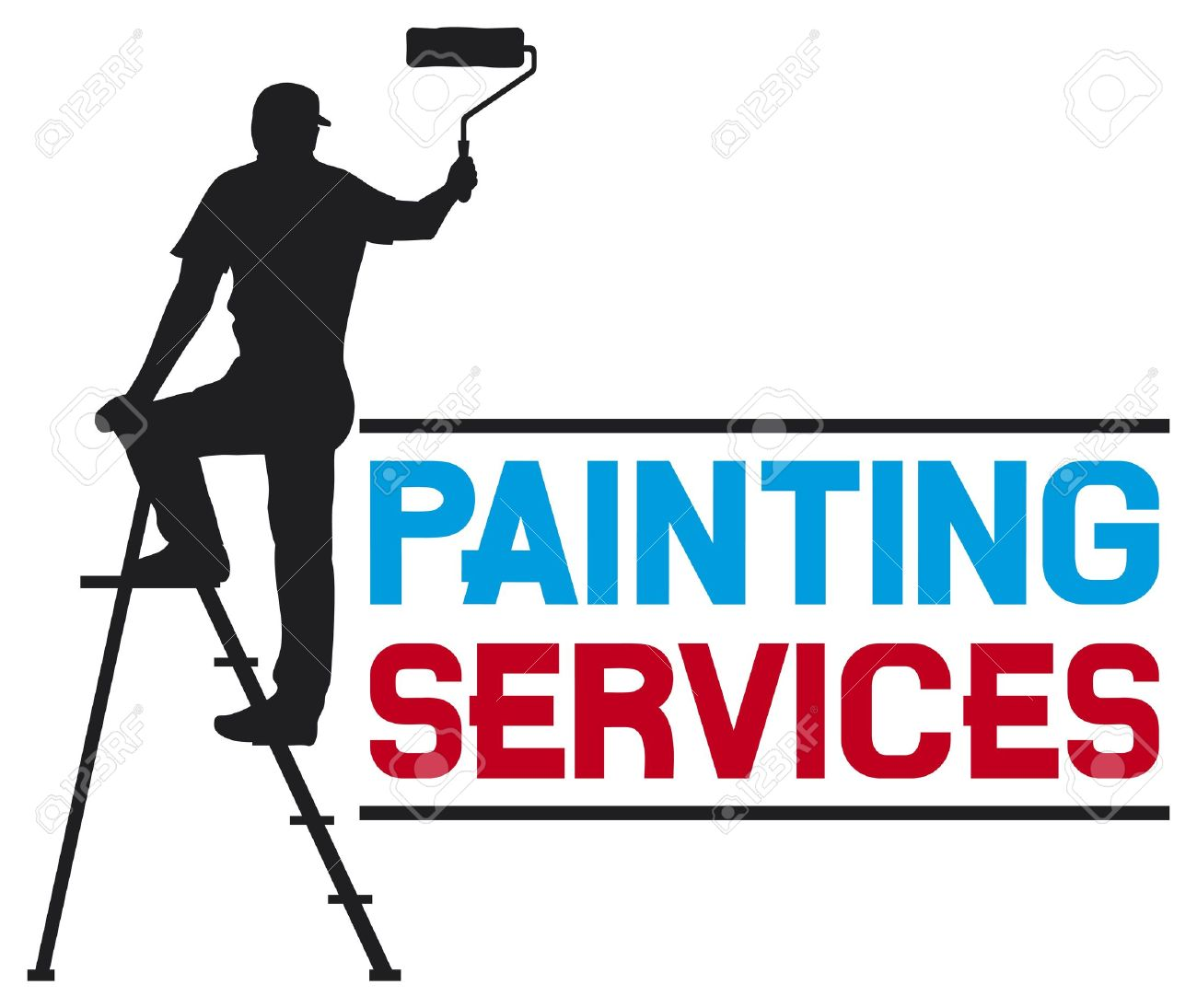 Painting Services Design Illustration Of A Man Painting The