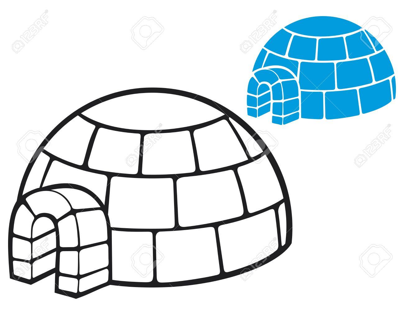 illustration of a igloo  cartoon vector illustration of a igloo, vector icon igloo, white snow igloo, igloo illustration Stock Vector - 20010525