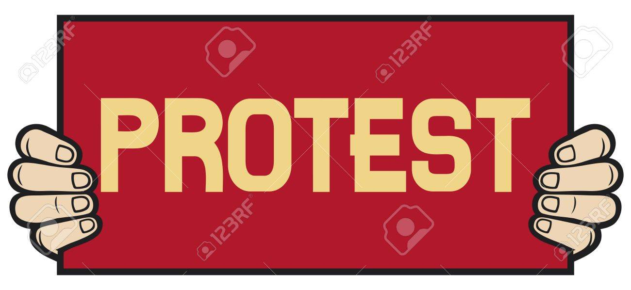 hand held a banner - protest  demonstrator, protest man, demonstrations, protest Stock Vector - 20192007