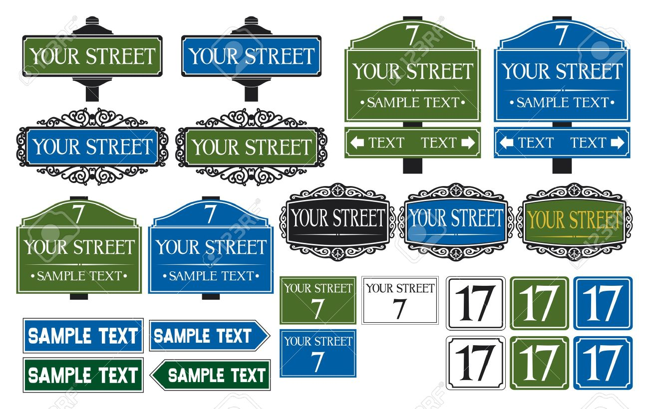 Big collection of road and street signs Stock Vector - 20303479