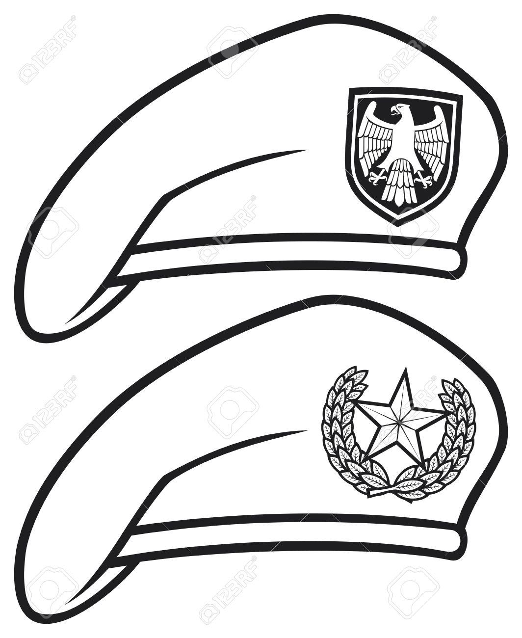 e8655e83bdd Military beret collection royalty free cliparts vectors jpg 1064x1300  Barrett hat drawing