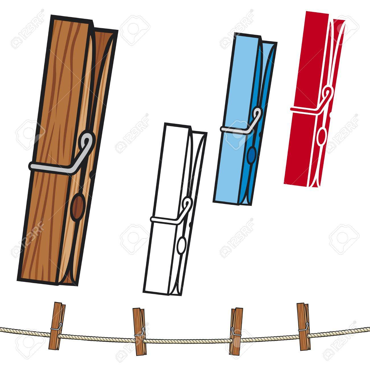 clothespin  clothespin and rope, clothes pegs Stock Vector - 23115864
