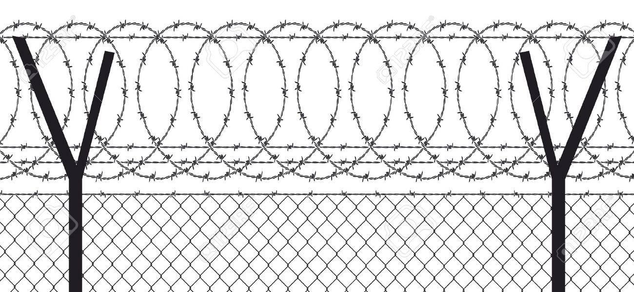 Alambre De Pas Valla Con Cable Ilustraciones Vectoriales Clip Art