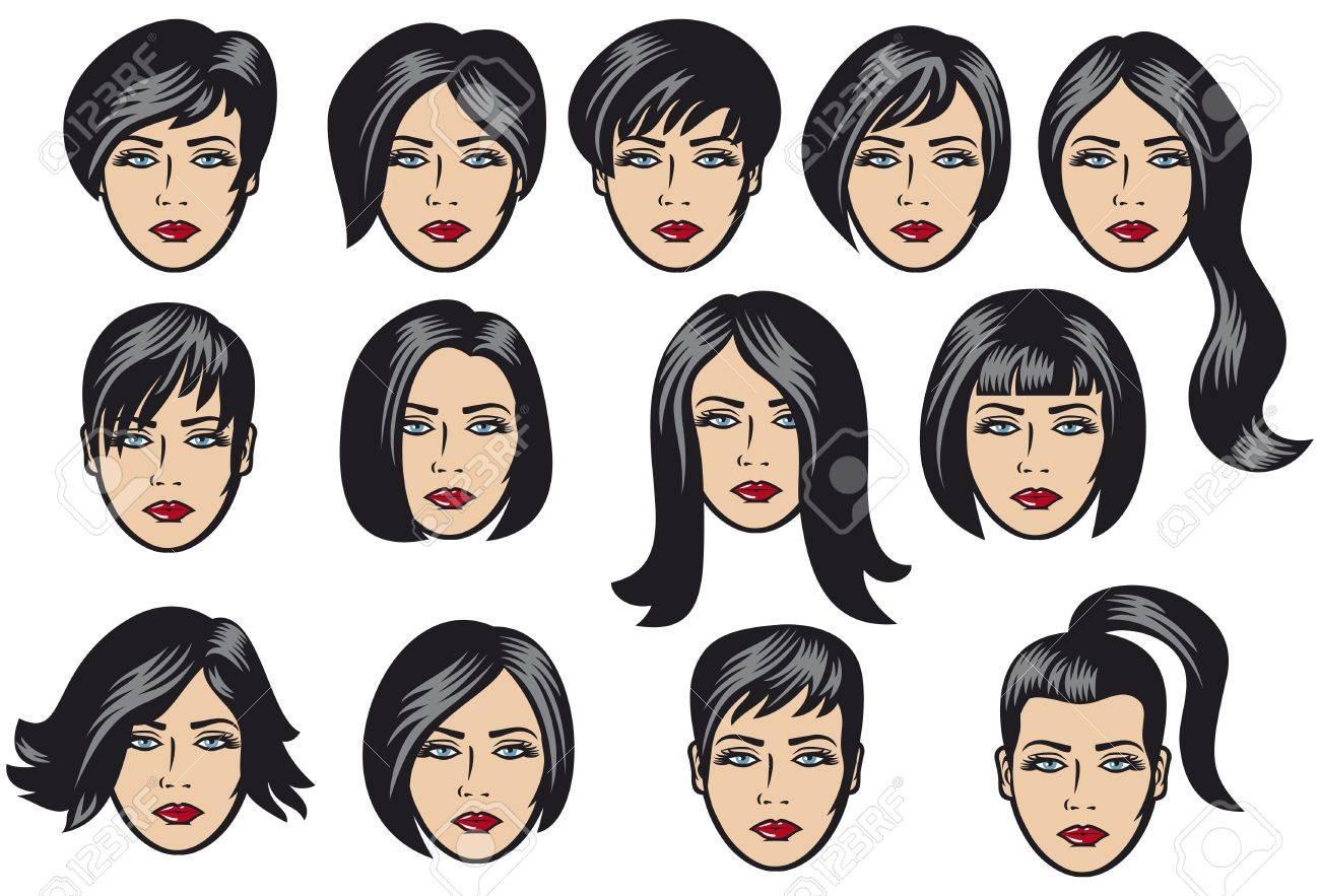 Große Reihe Von Schwarzen Haar Styling Für Die Frau Die Große Reihe