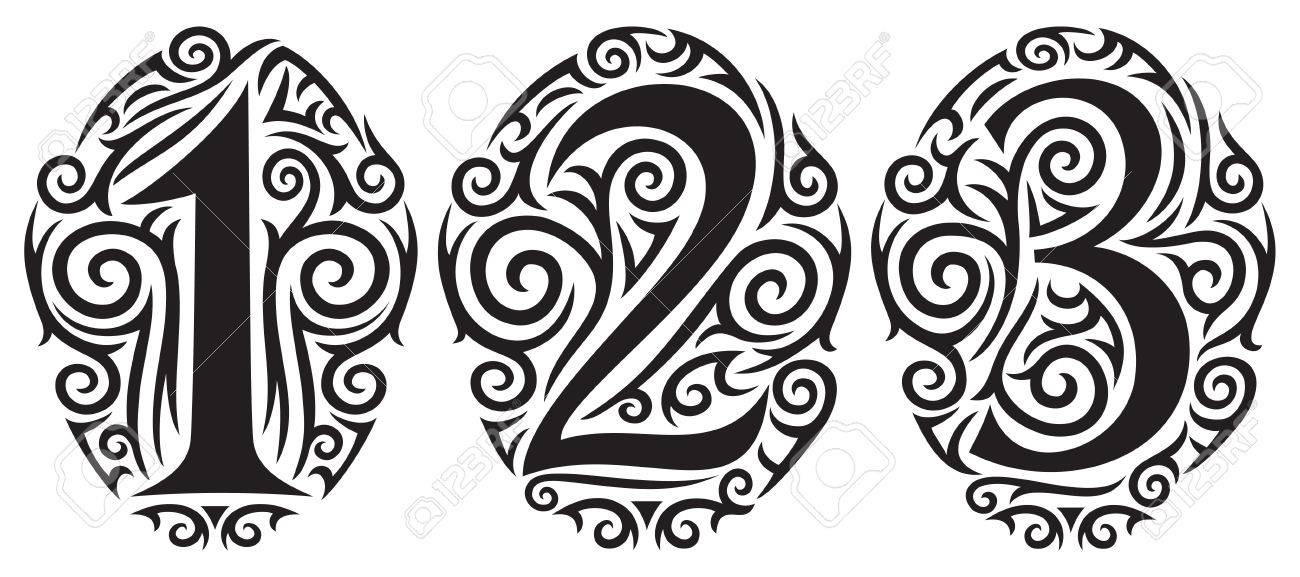 33cd1a57d numbers one, two and three - tattoo tribal design Stock Vector - 45766787