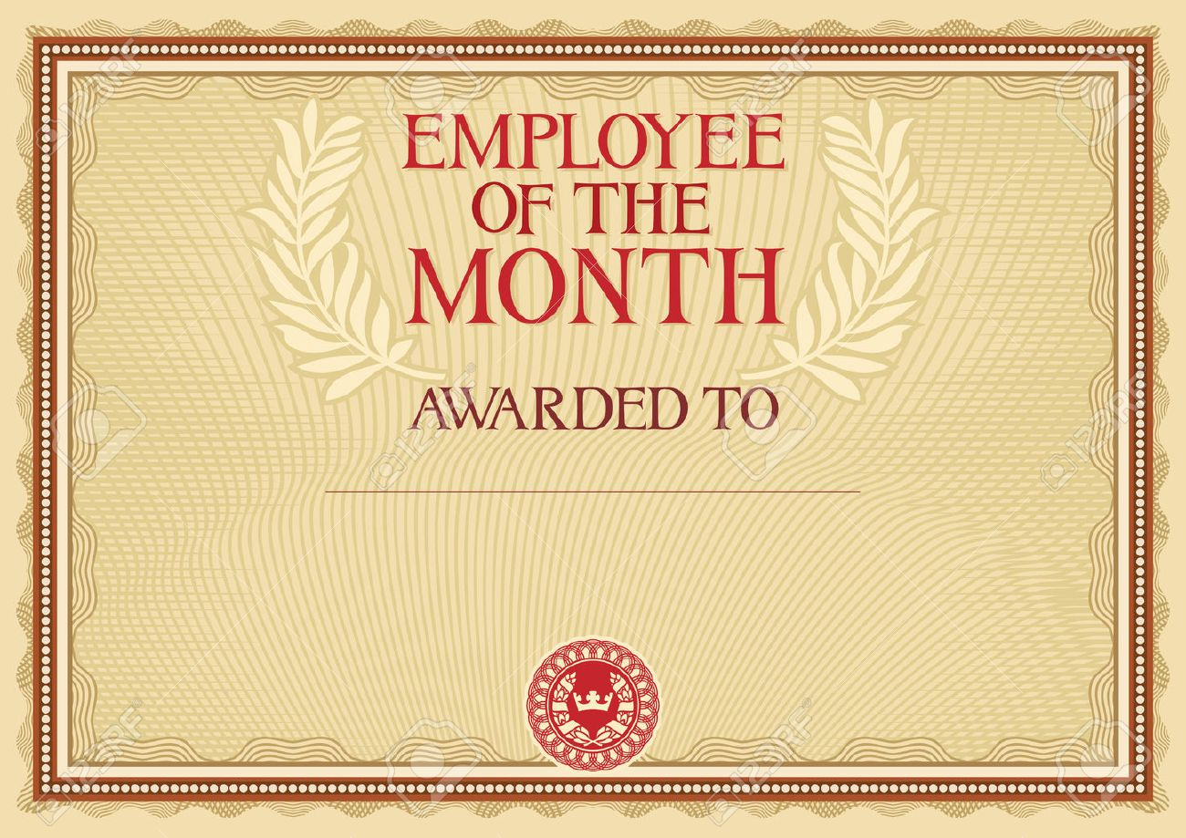 employee of the month certificate template stock vector 42040260 - Certificate Of Employee Of The Month Template