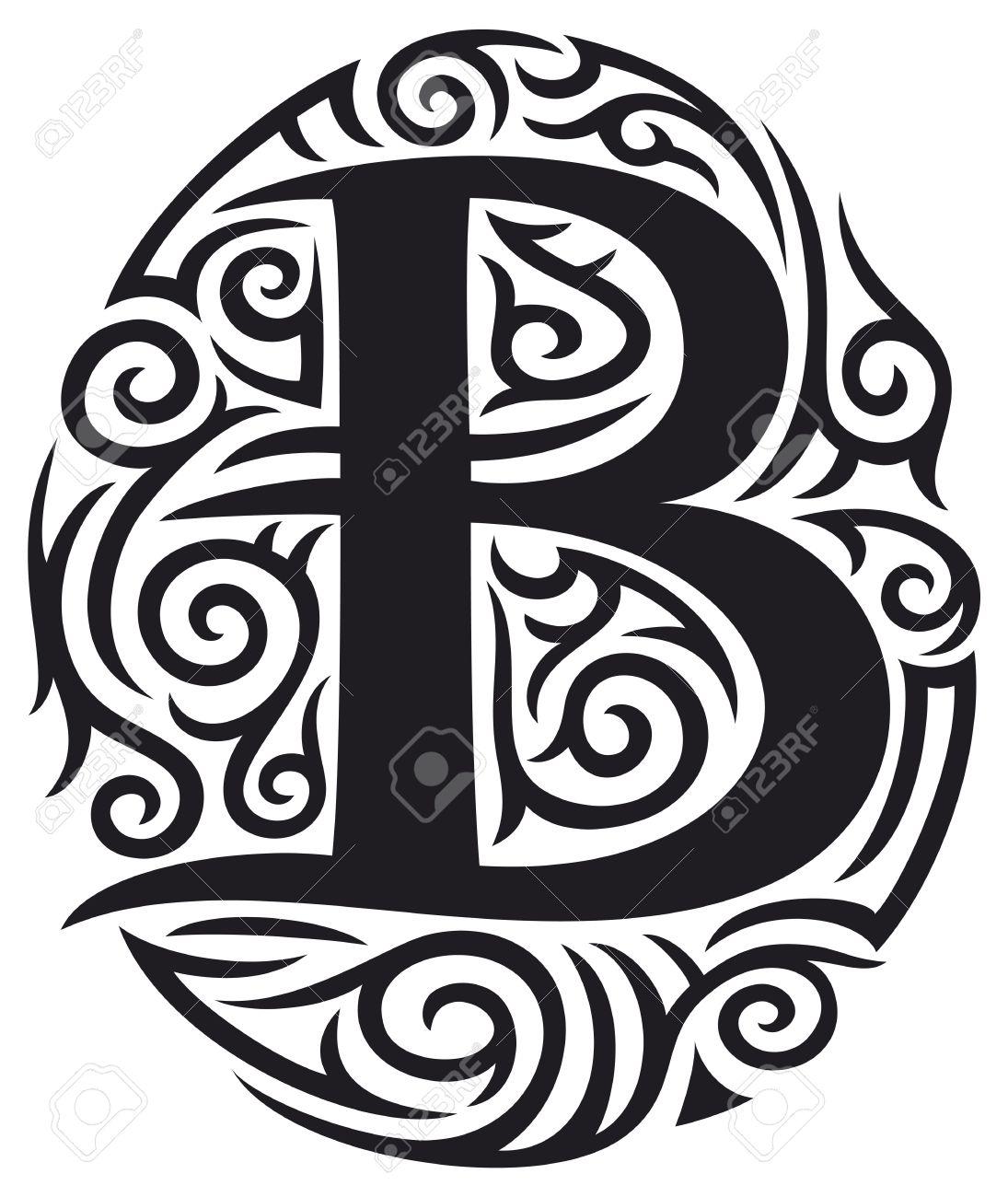 Letter B Tattoo Tribal Design Stock Vector