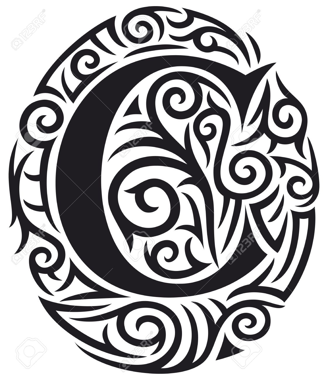 Letter C Tattoo Tribal Design Royalty Free Cliparts Vectors And
