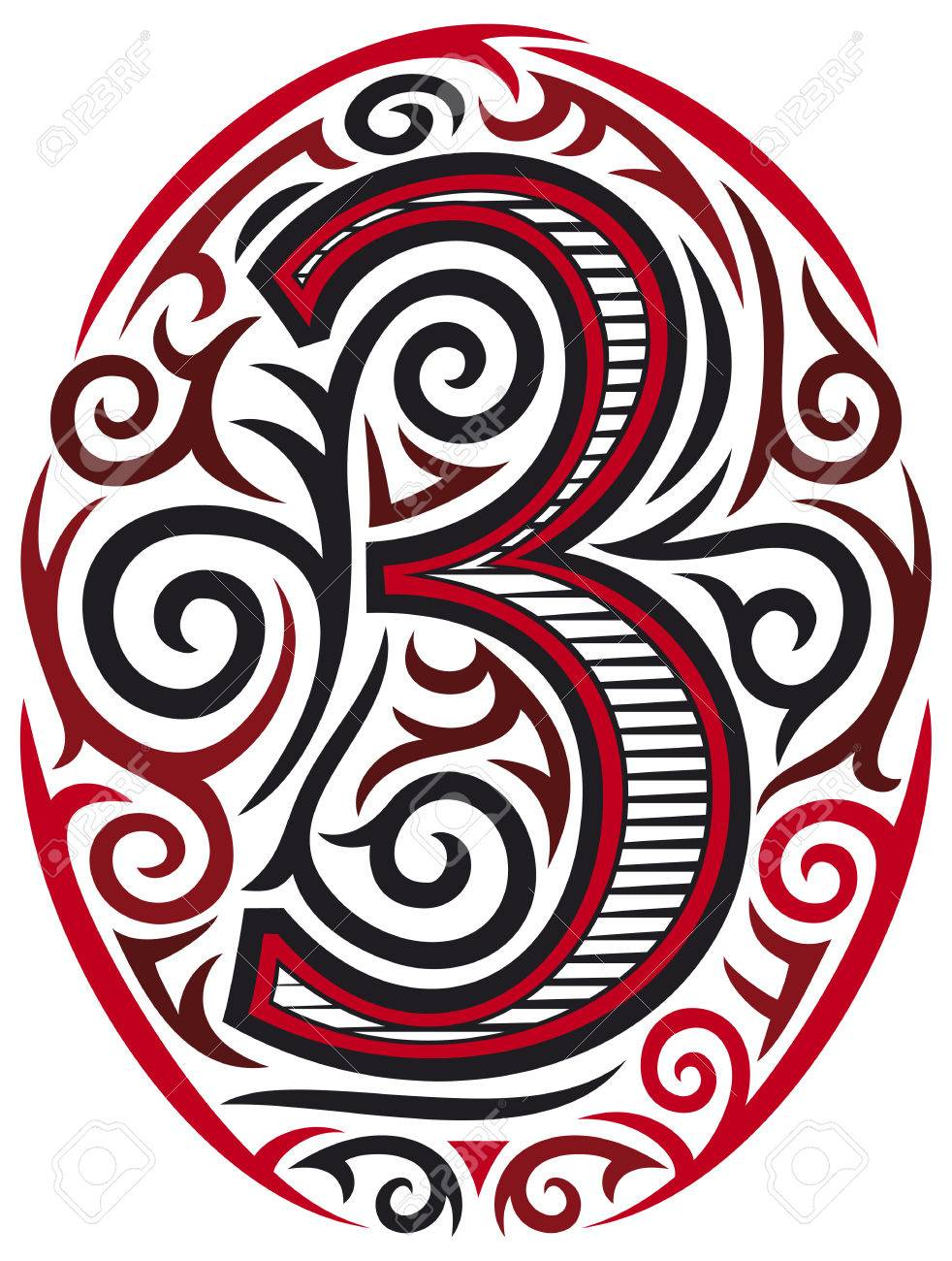 59775c0b5 Number Three Tattoo Tribal Design Royalty Free Cliparts, Vectors ...