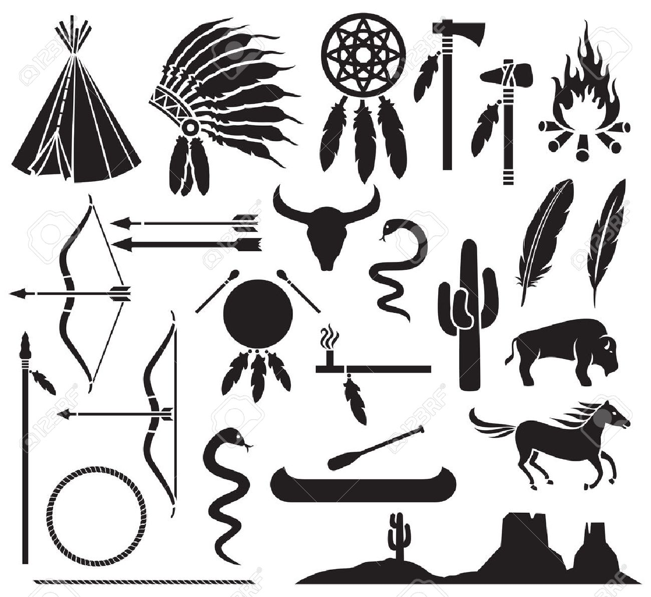 Native American Indians Icons Set Bow And Arrow Snake Horse Bison Cactus