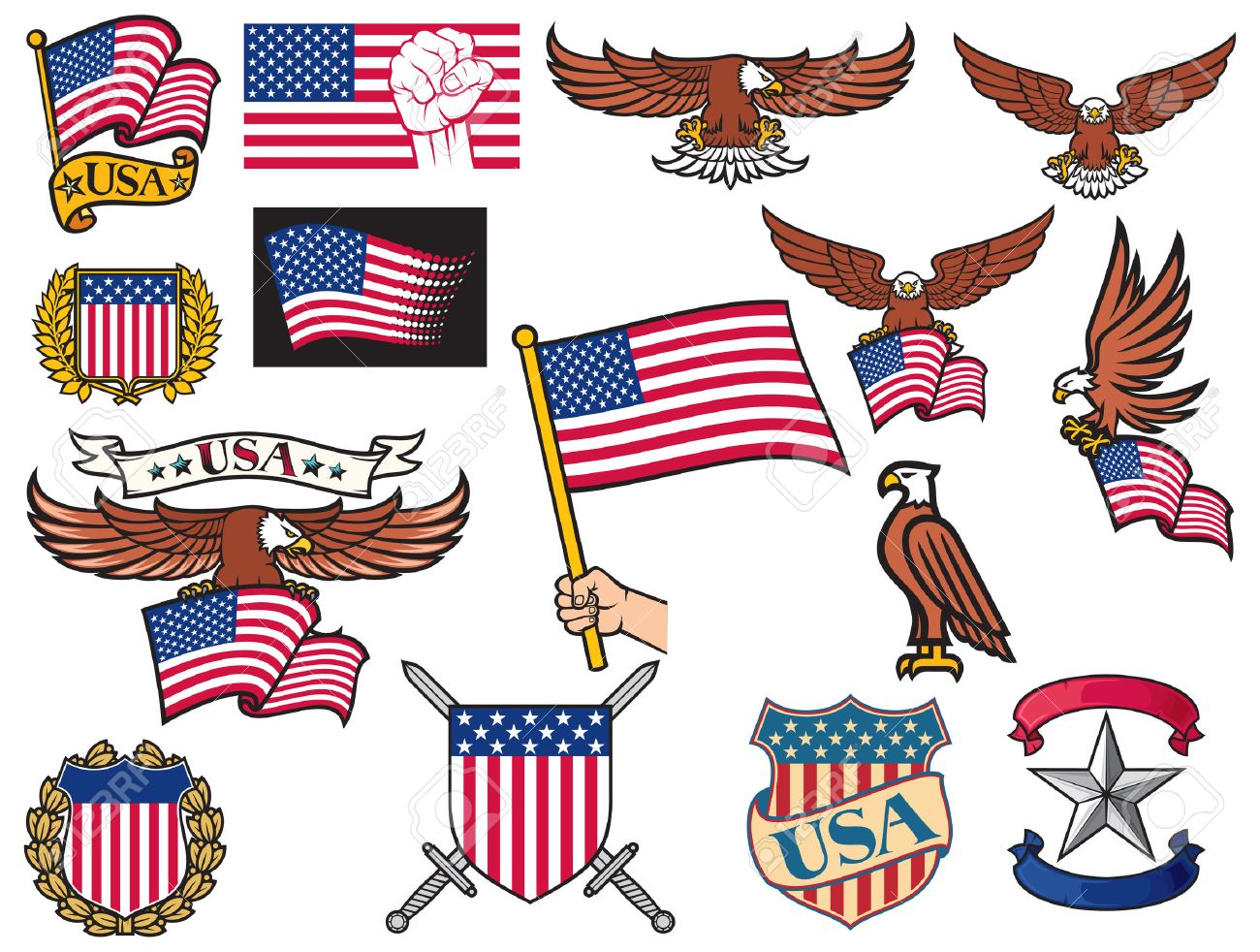 Vereinigte Staaten Von Amerika Symbole Amerikanischer Fliegenden ...
