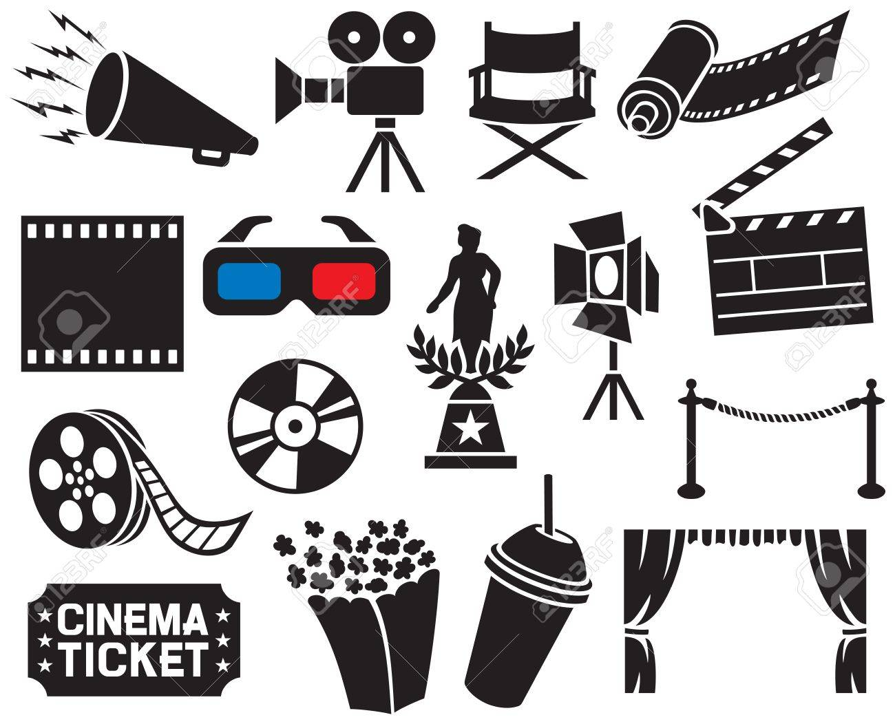 cinema icons collection (film strip, popcorn, cinema clapboard,..