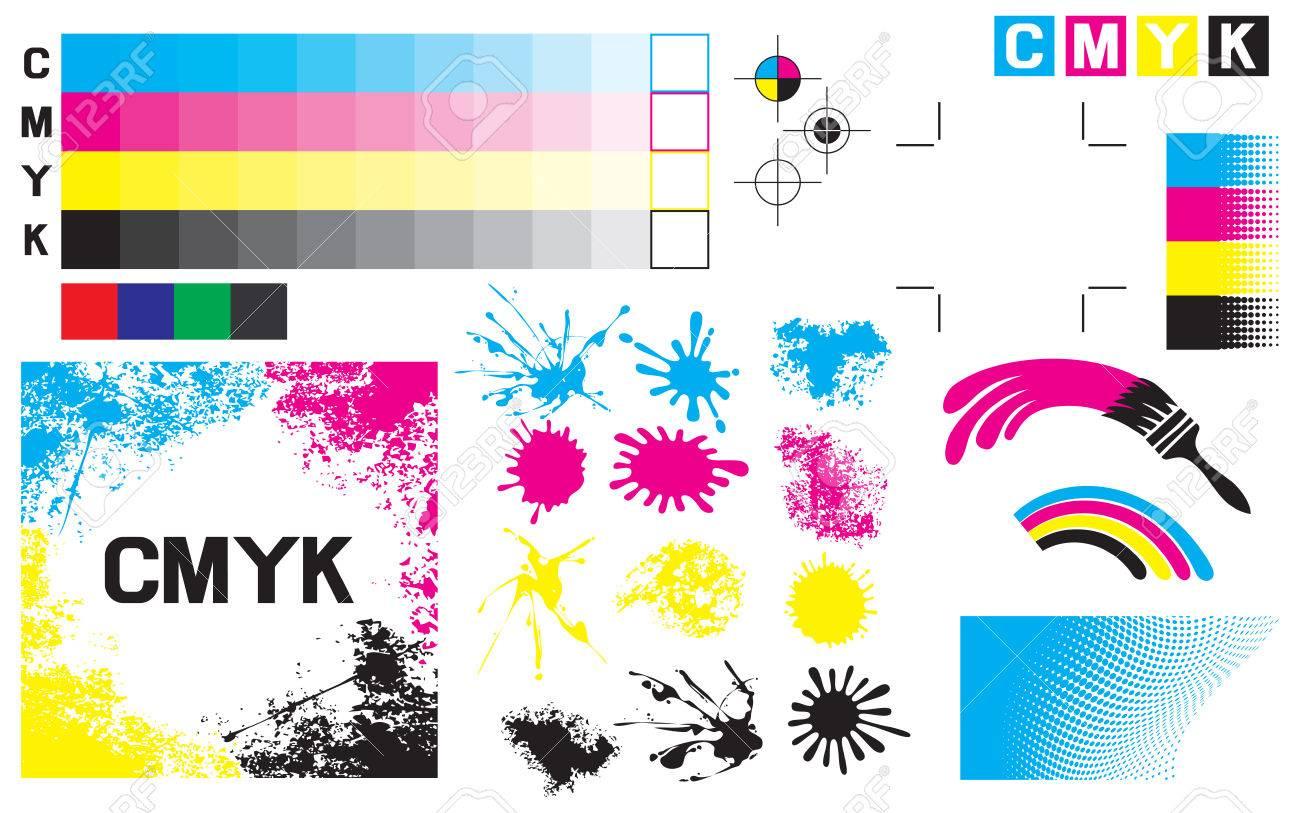 CMYK press marks (printing marks, printing color test) - 55325924
