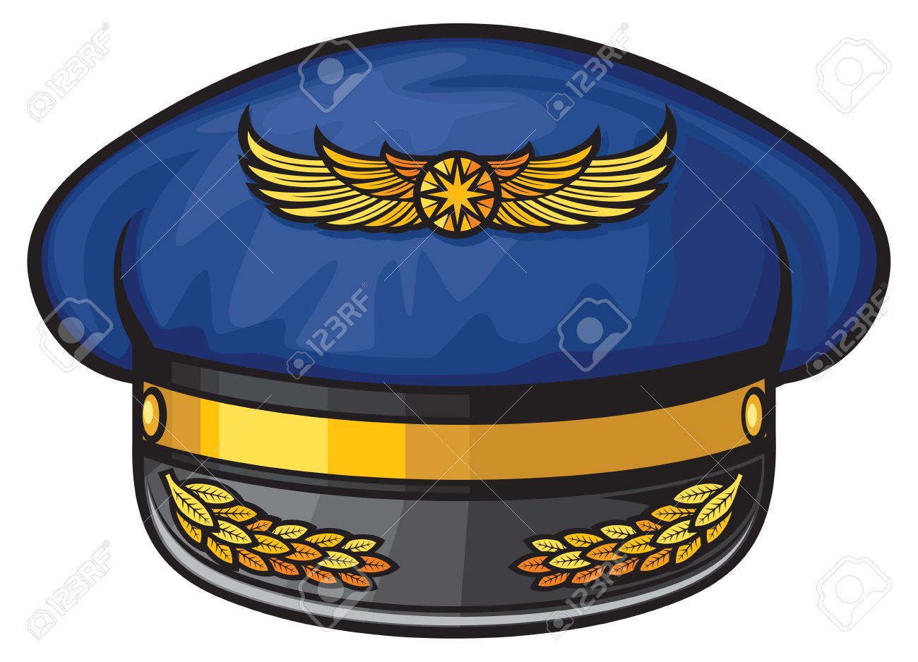Airline Pilots Hat Aviator Cap With Gold Insignia Stock Vector