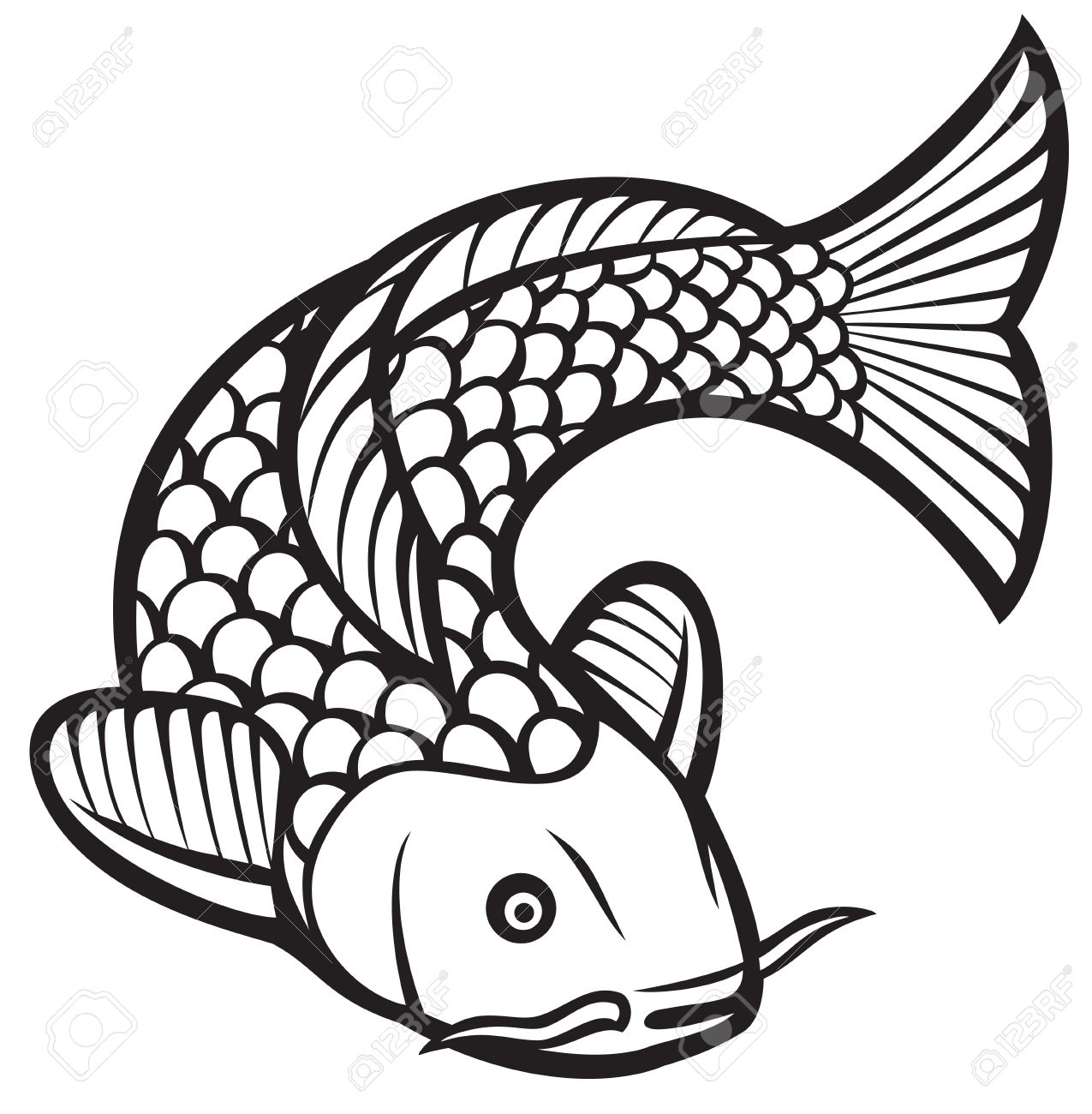 Koi Fish (vector Illustration Of A Japanese Or Chinese Inspired ...