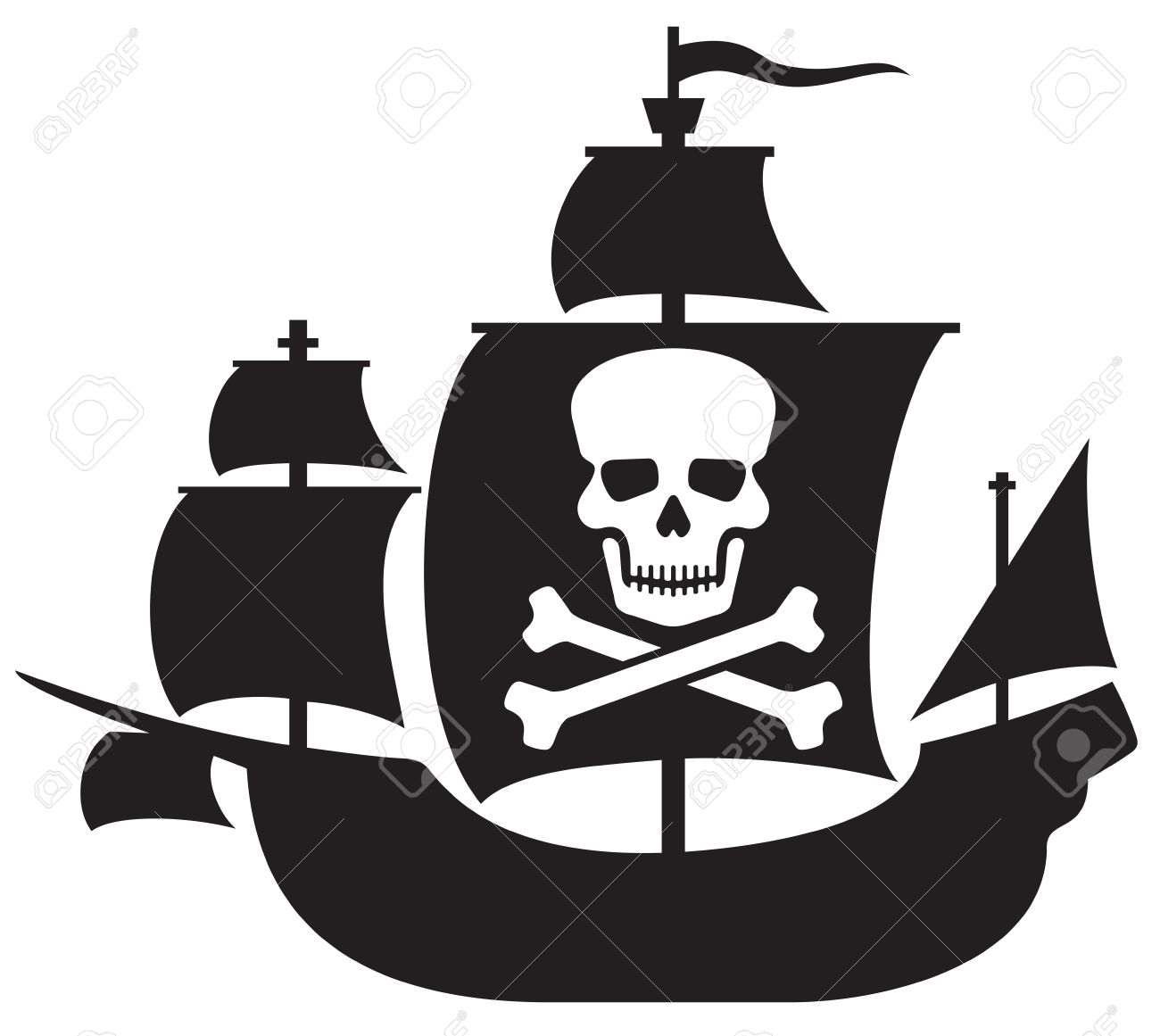 pirate ship with skull with crossed bones on the sail pirate rh 123rf com pirate ship vector free pirate ship vector logo