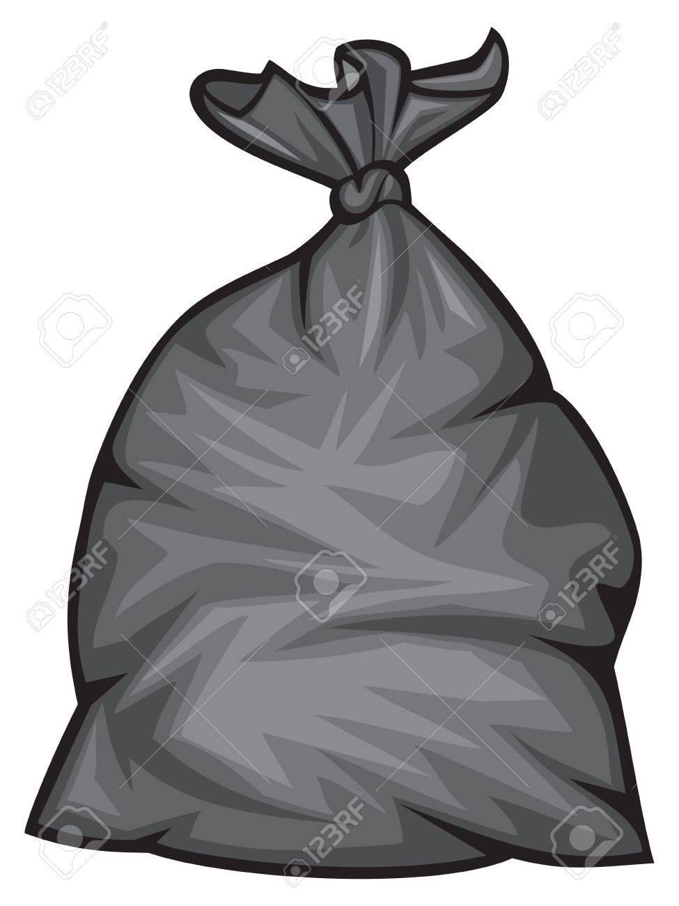 black plastic trash bag vector illustration - 66527294