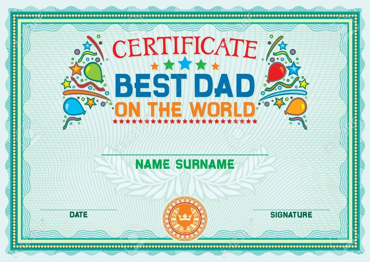 best dad father on the world certificate royalty free cliparts