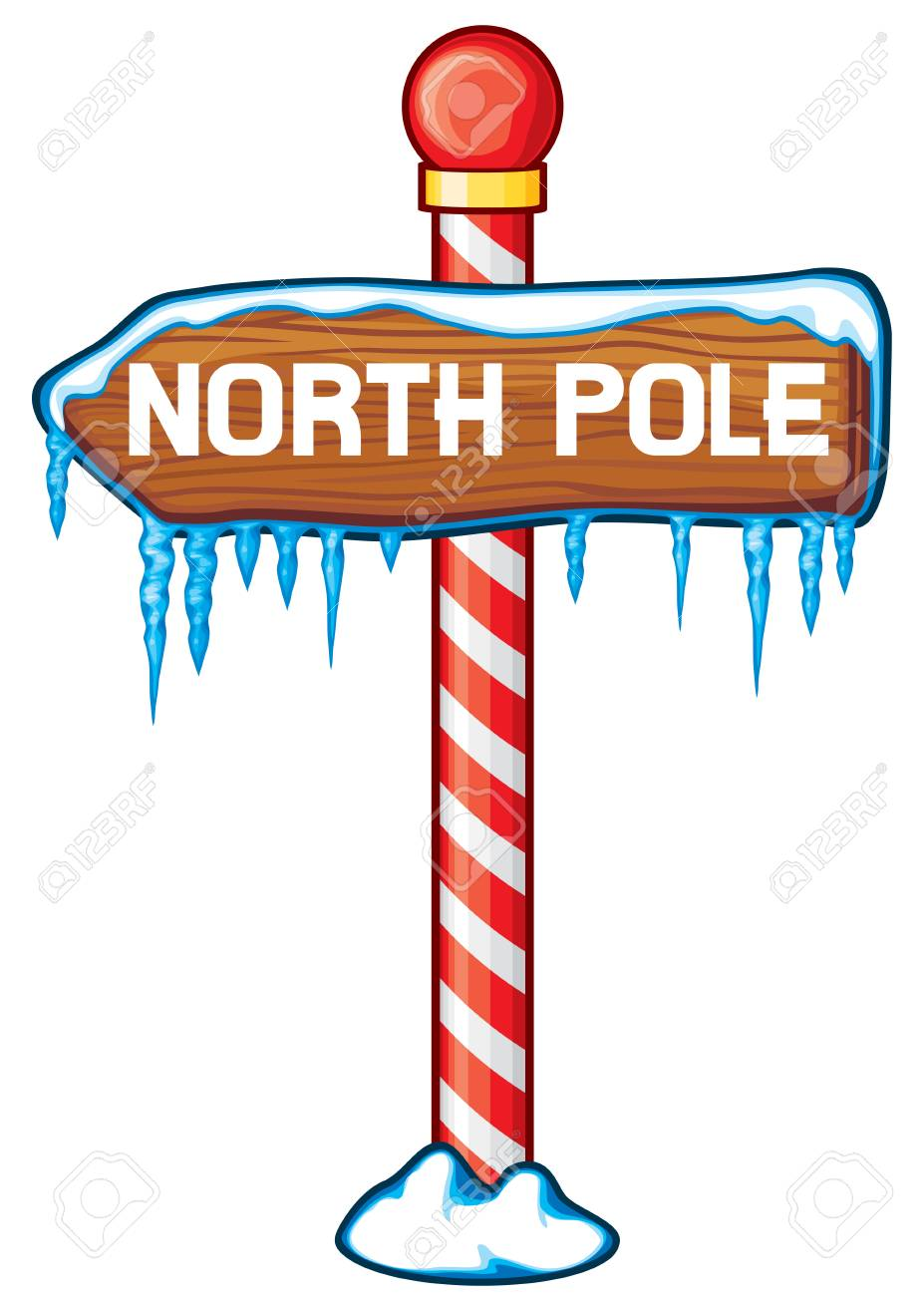 North Pole wooden sign vector illustration. - 88415234