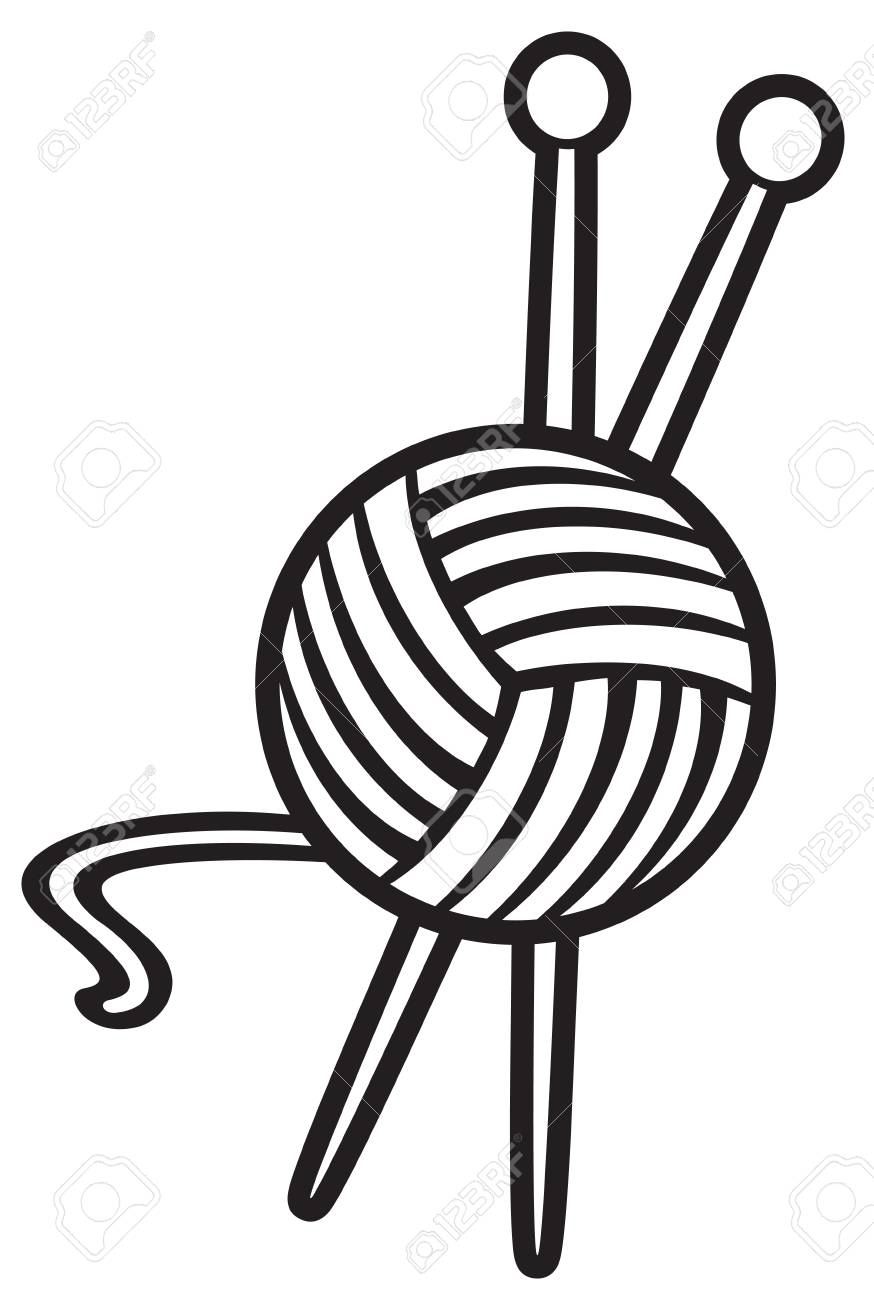 115677751 yarn ball and knitting needles