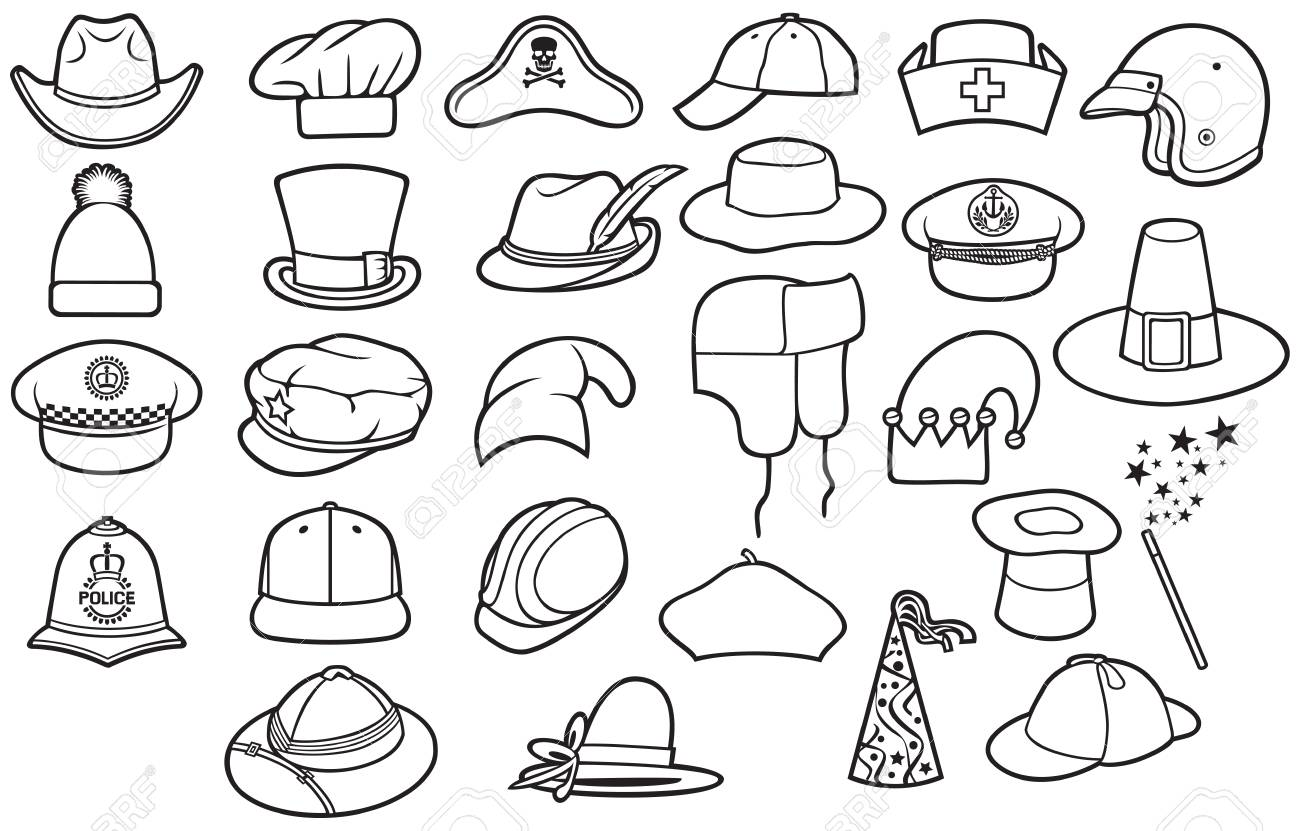 6df01a76d80cc Different Types Of Hats Thin Line Icons Set (cowboy
