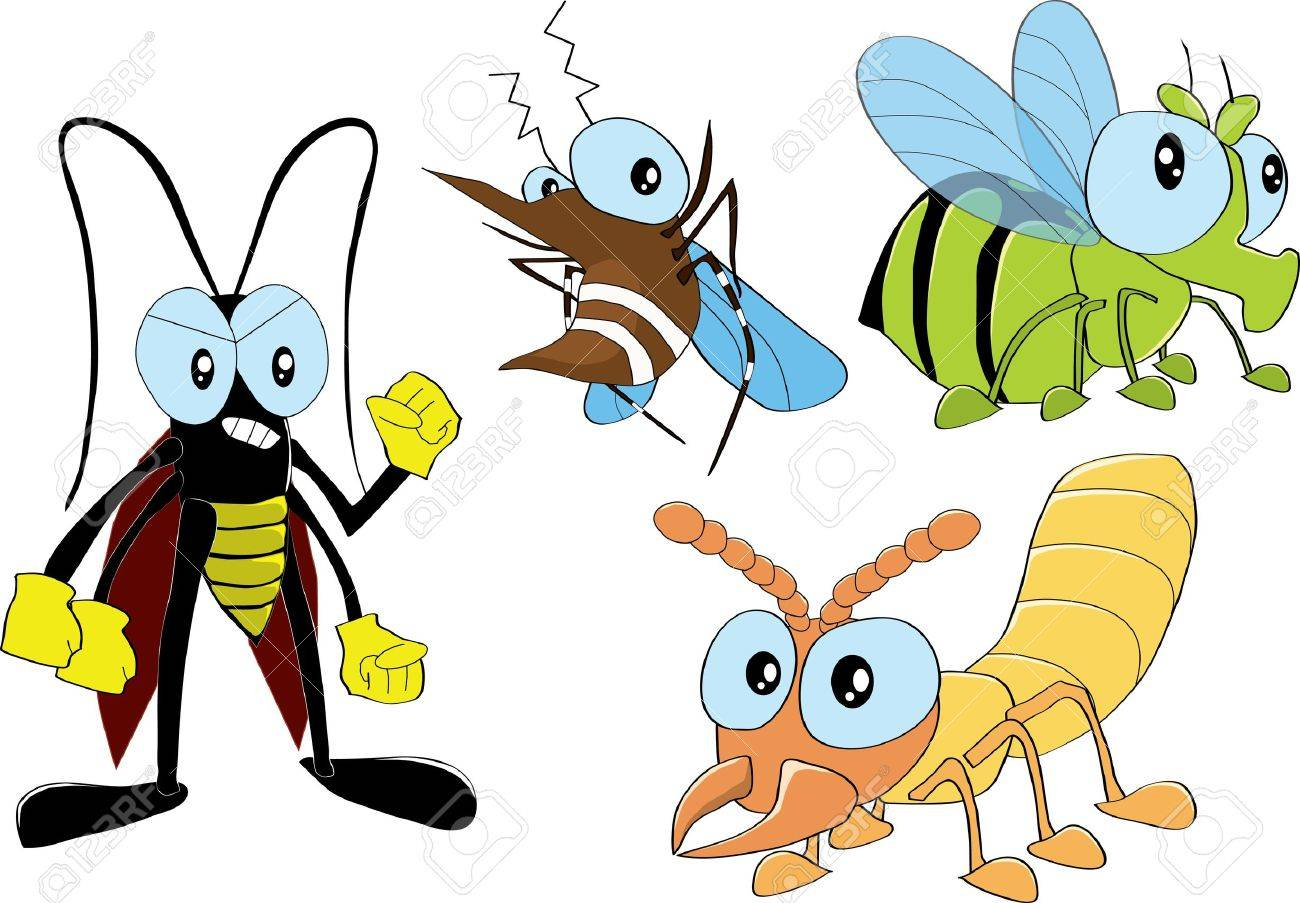 Pest insects, cockroach, termite, mosquito, fly Stock Vector - 16429189