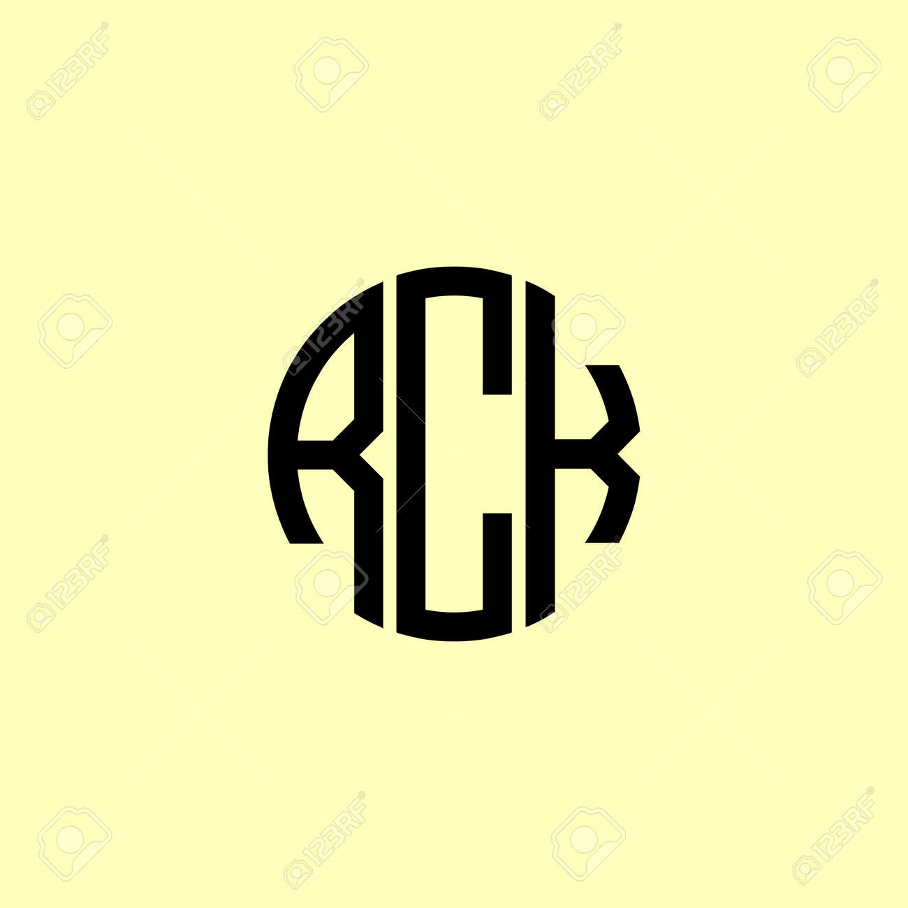 Creative Rounded Initial Letters RCK Logo. It will be suitable for which company or brand name start those initial. - 168950382