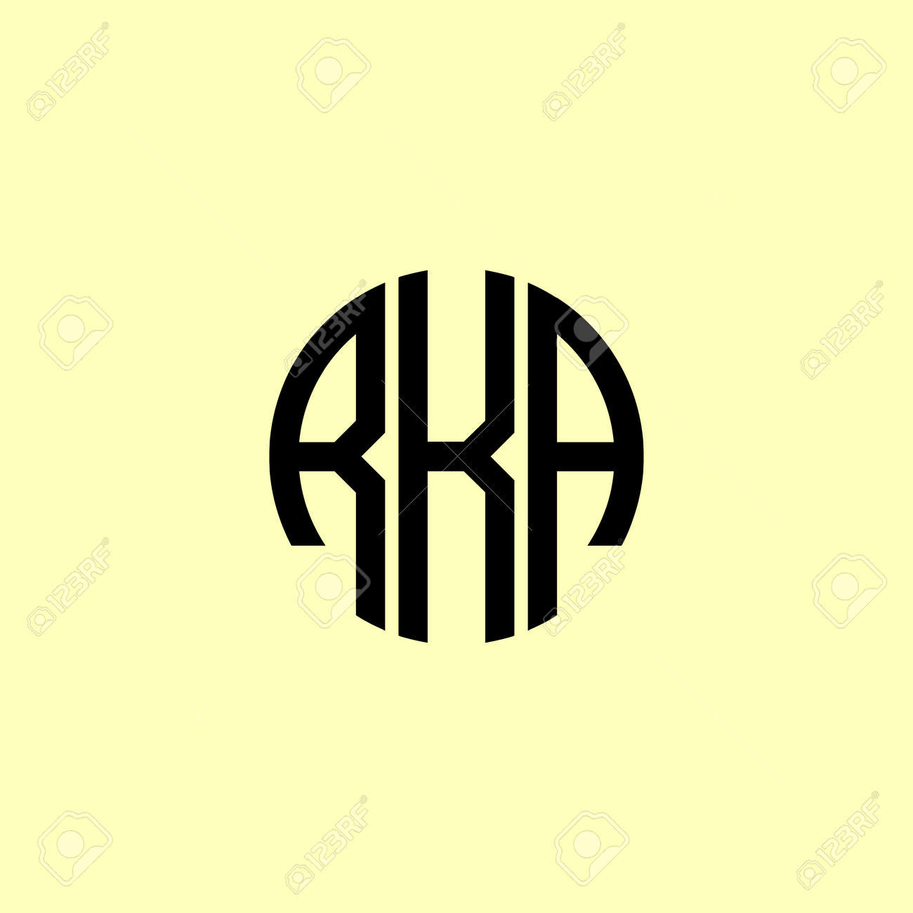 Creative Rounded Initial Letters RKA Logo. It will be suitable for which company or brand name start those initial. - 171682758