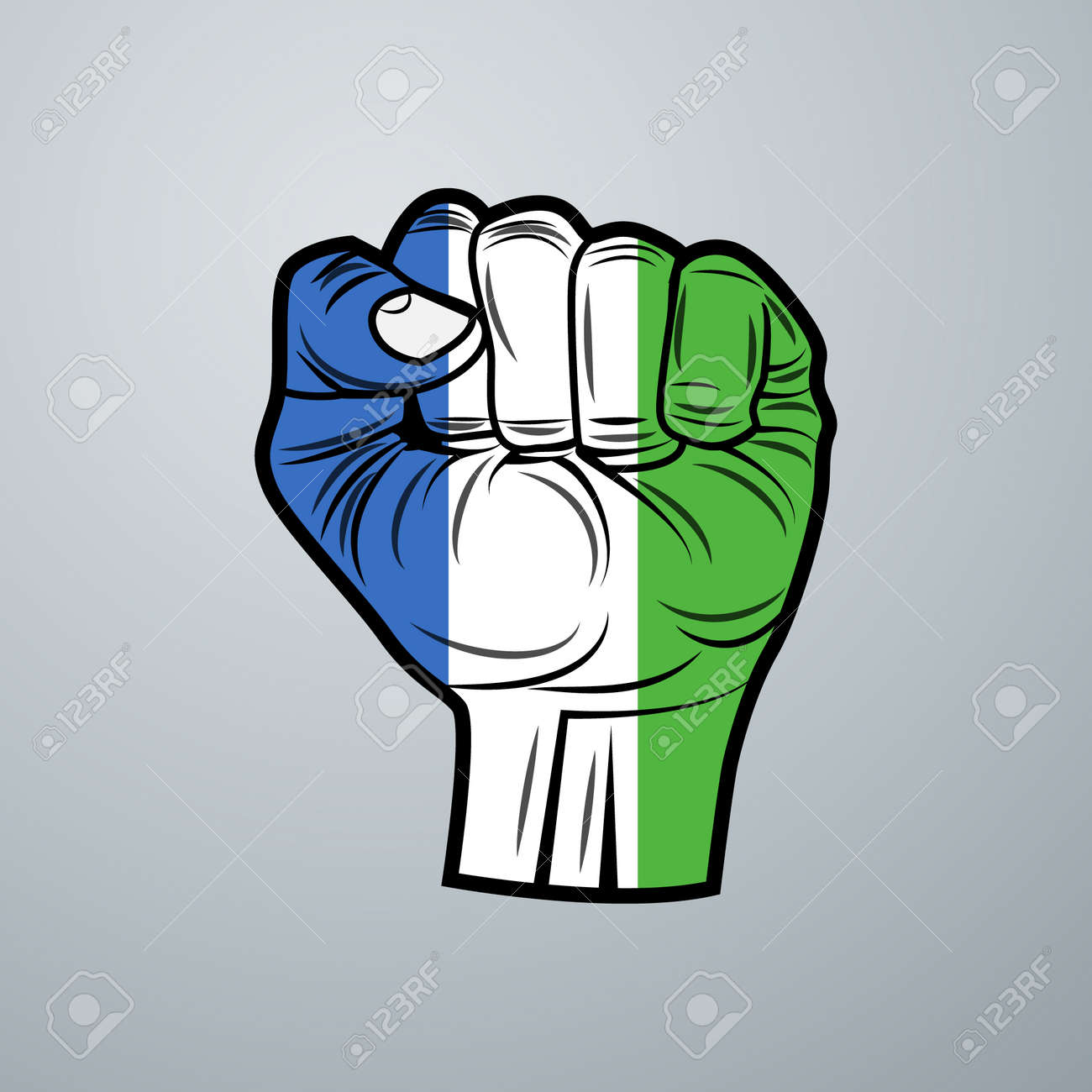 Sierra Leone Flag with Hand Design isolated on white background. Vector illustration - 172643327