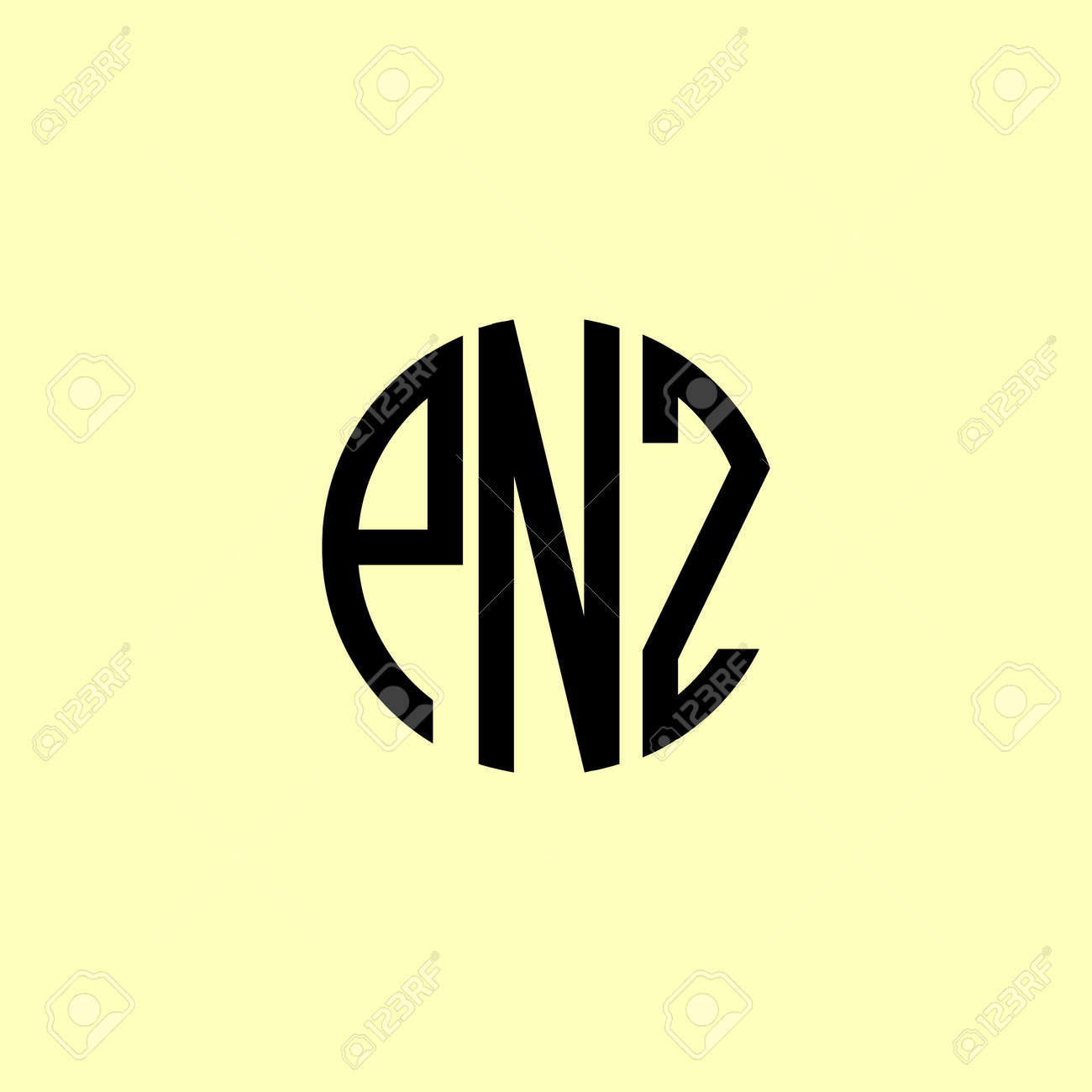 Creative Rounded Initial Letters PNZ Logo. It will be suitable for which company or brand name start those initial. - 173111356