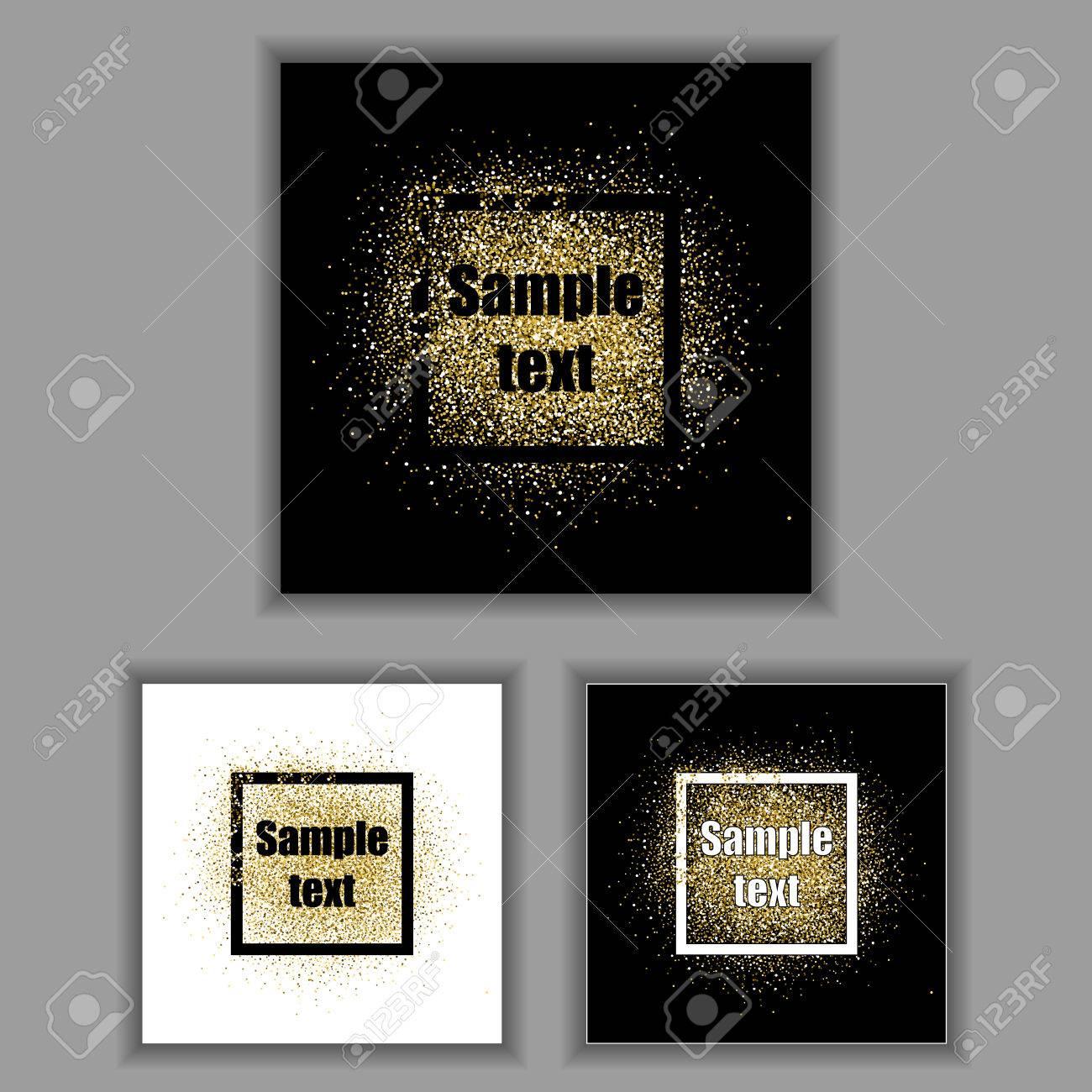 Gold-Glitter-Rahmen. Gold-Hintergrund Für Flyer, Poster, Zeichen ...
