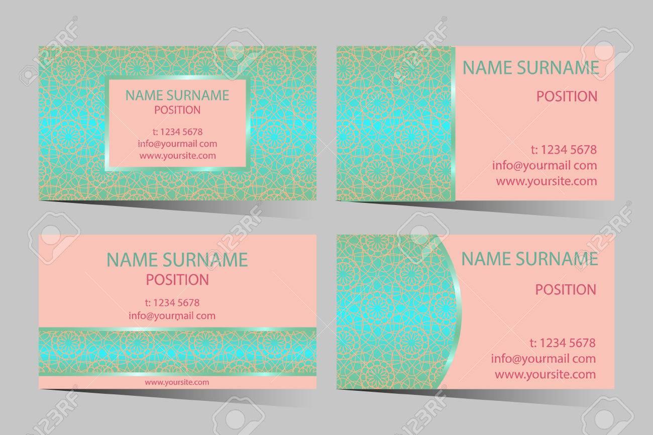 Business card set elegant lace design circle french pattern business card set elegant lace design circle french pattern ornament for business card colourmoves